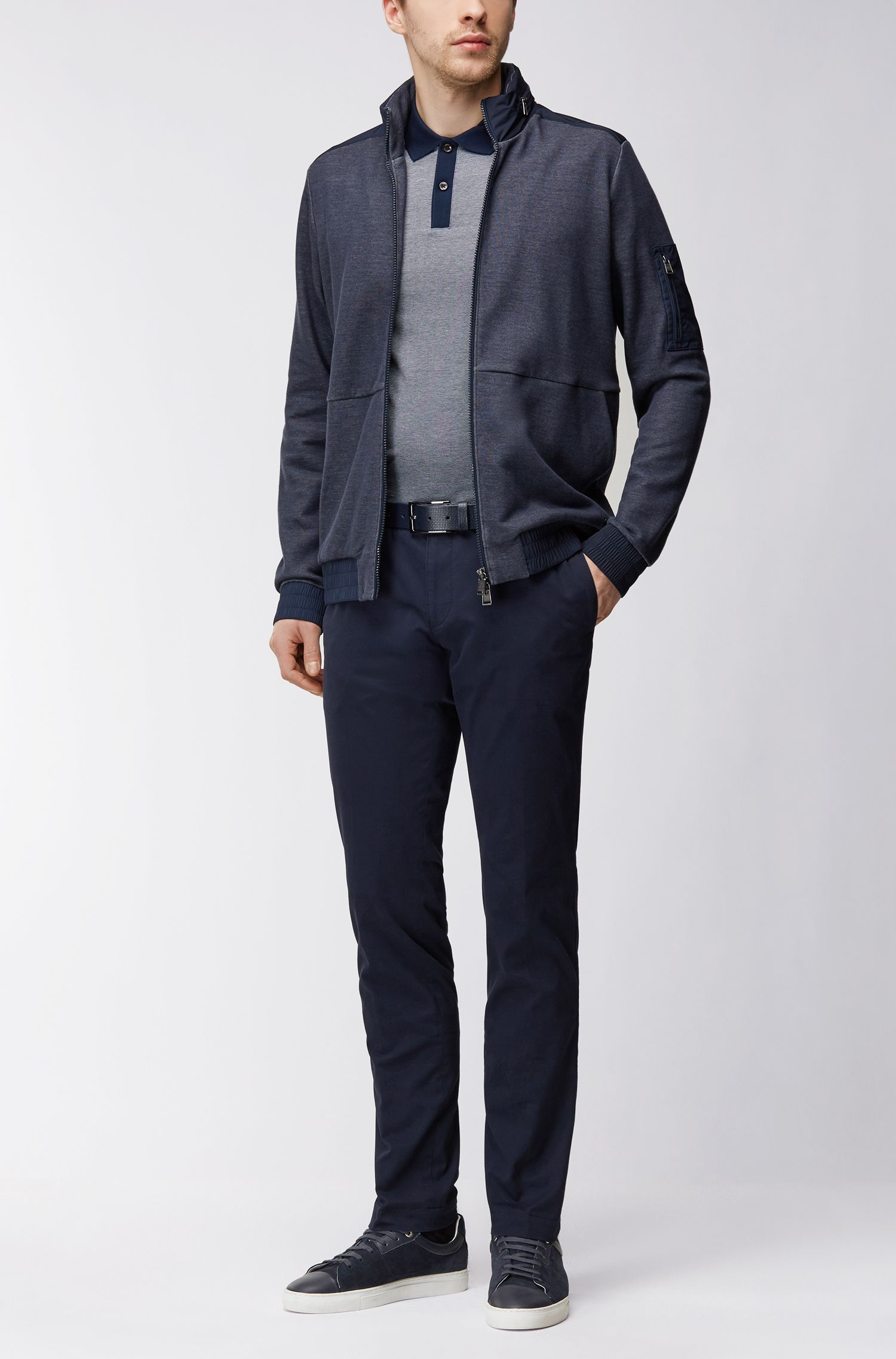 Cotton Polo Shirt, Slim Fit | Phillipson, Dark Blue