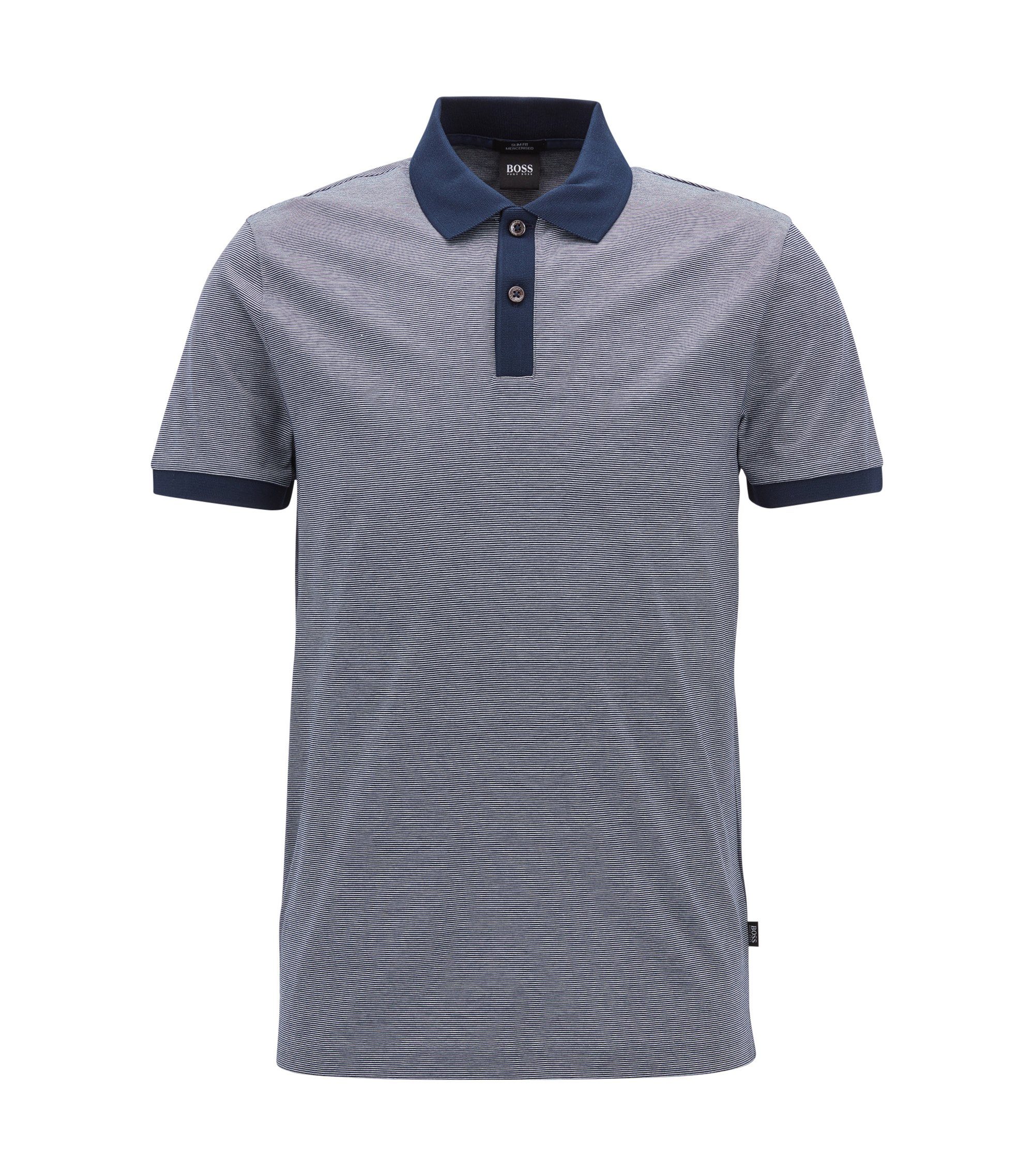 Cotton Polo Shirt, Slim Fit | Phillipson, Dark Blue