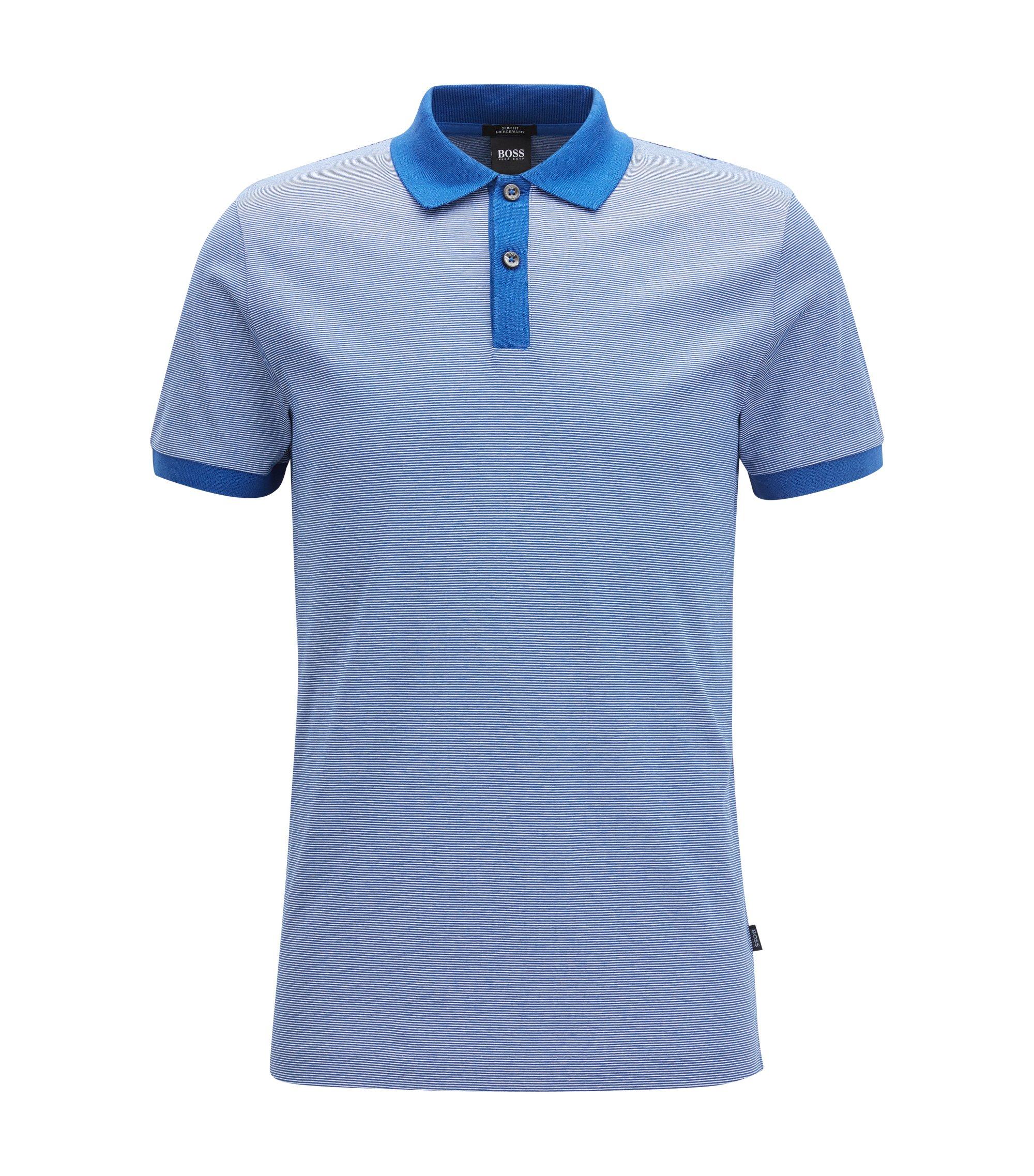 Cotton Polo Shirt, Slim Fit | Phillipson, Blue