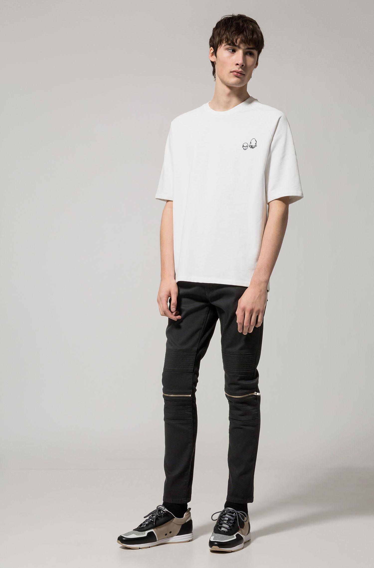 Cotton Blend Moto Jean, Skinny Fit | HUGO 734