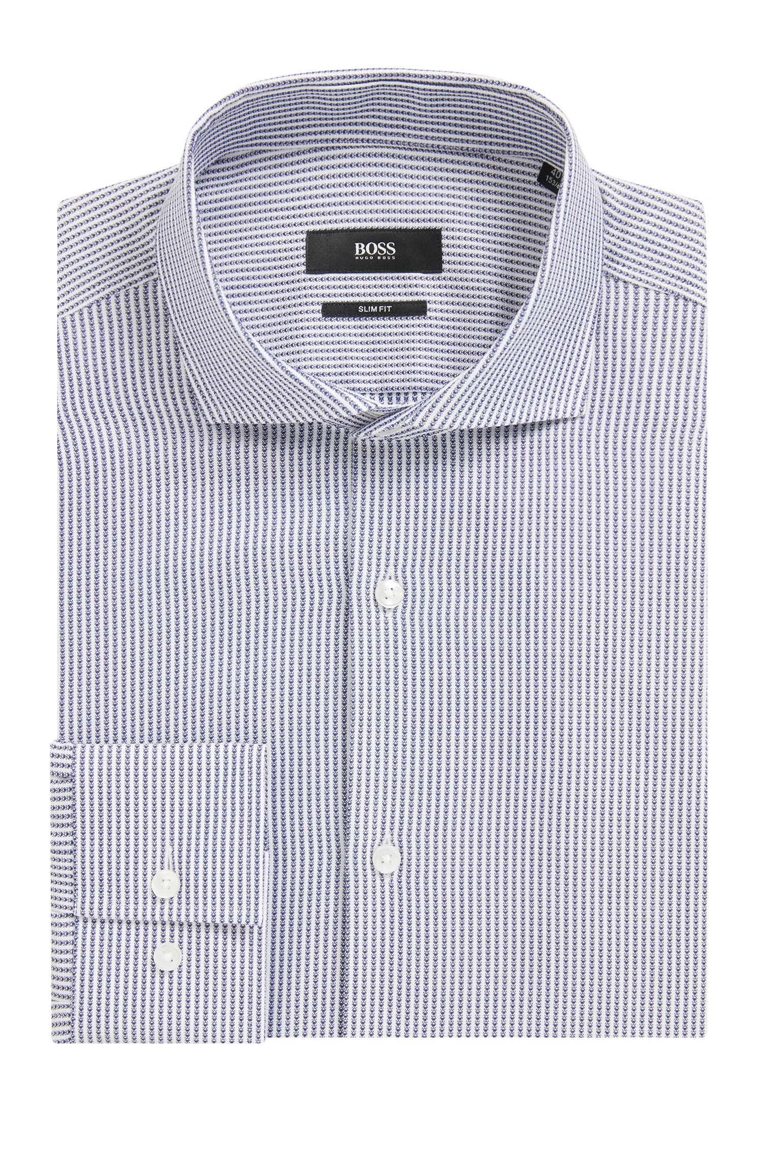 Cotton Dress Shirt, Slim Fit | Jason , Blue