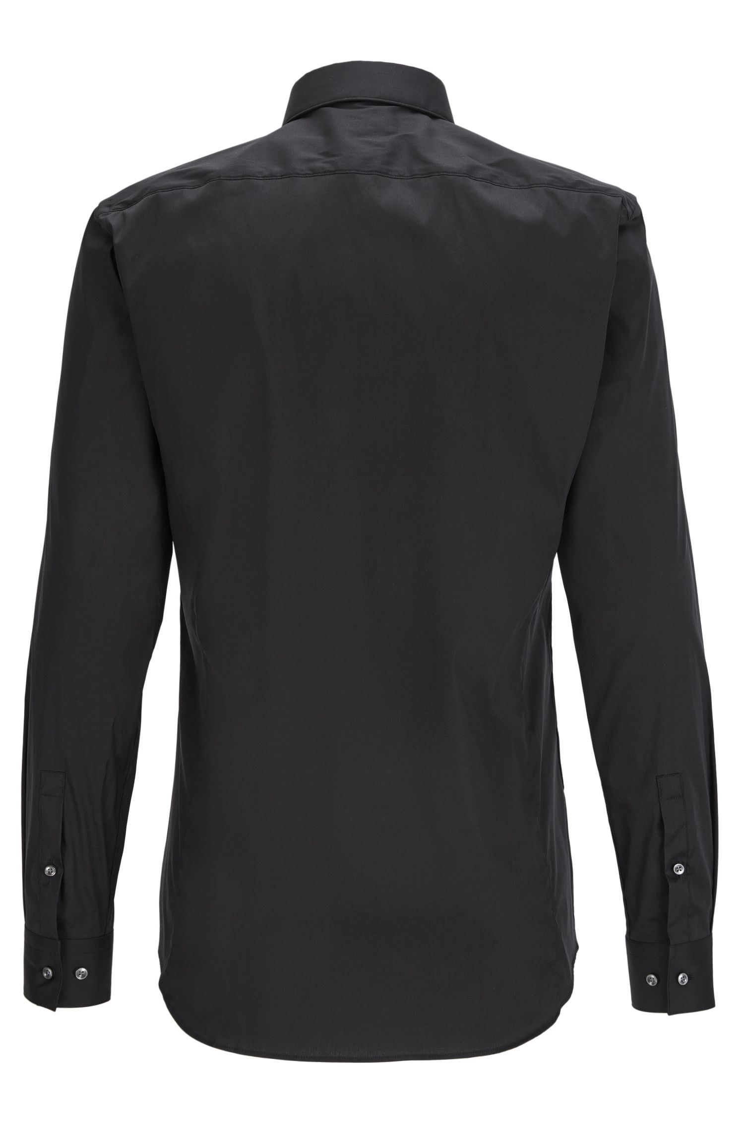 Cotton Blend Shirt, Slim Fit | Ilan, Black
