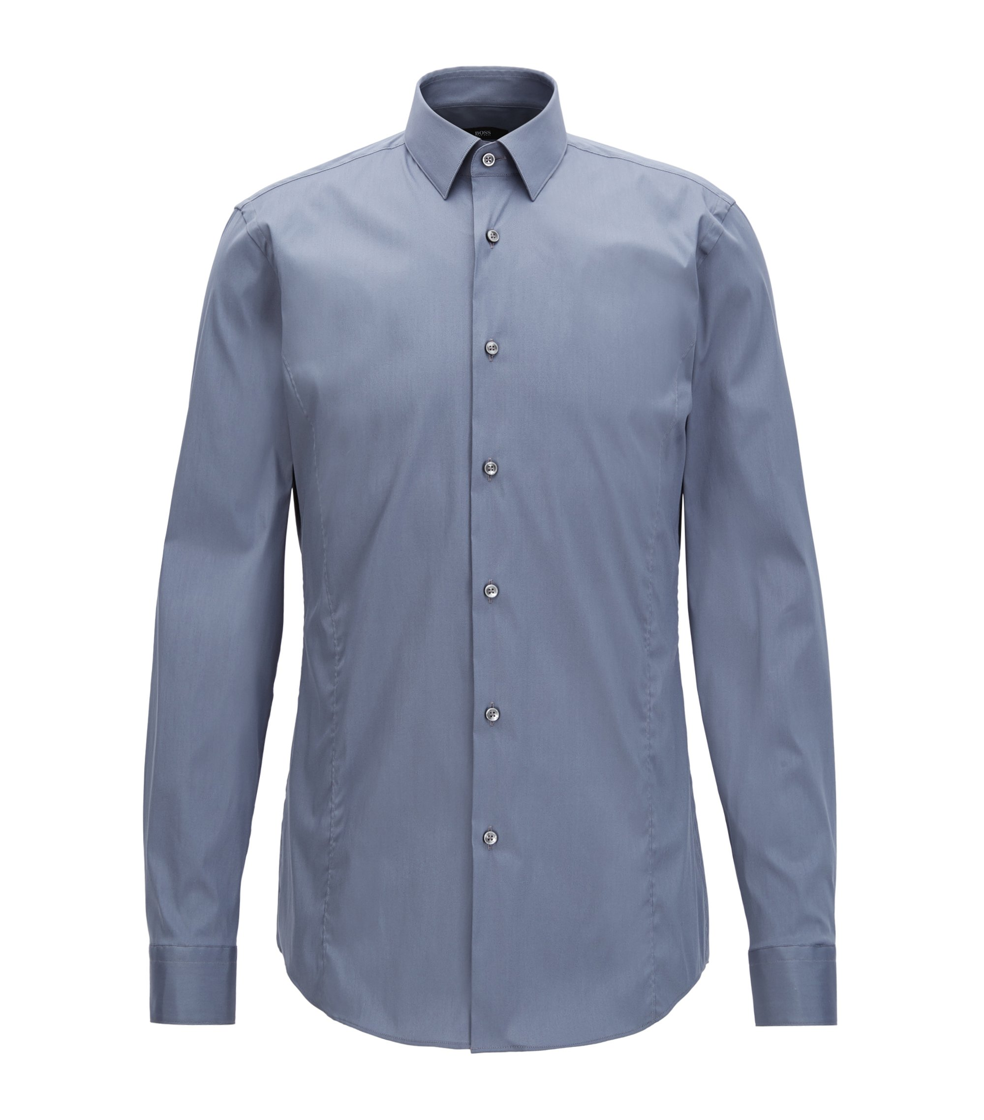 Cotton Blend Shirt, Slim Fit | Ilan, Dark Grey
