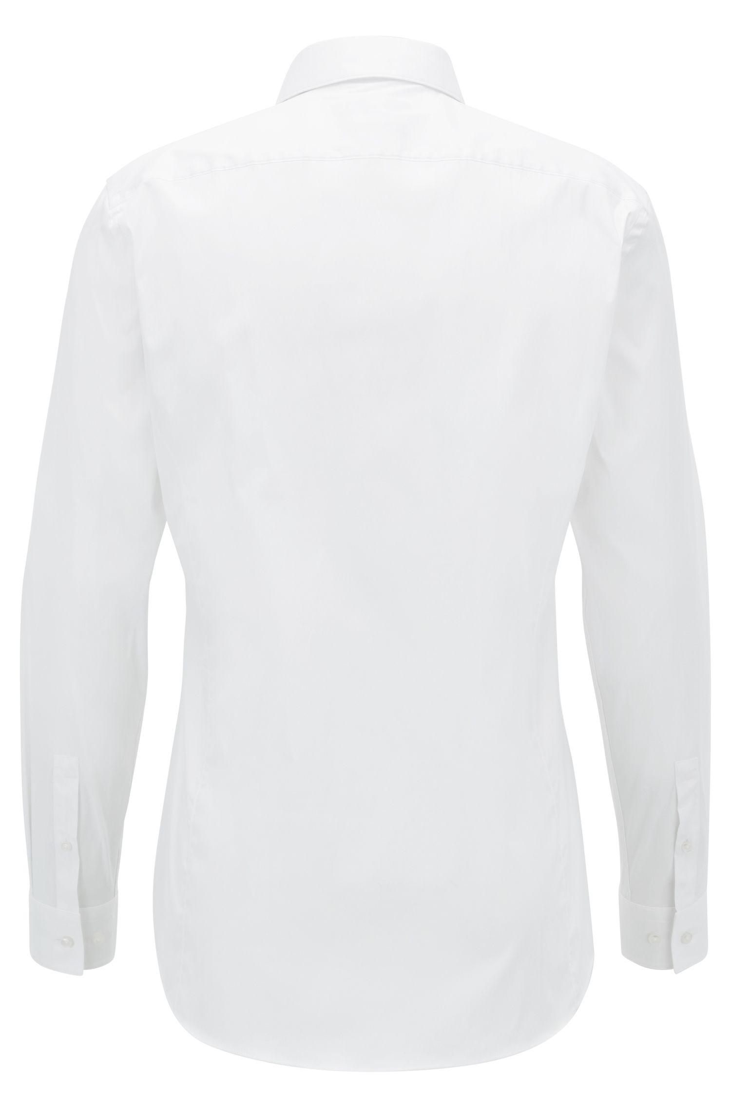 Cotton Blend Shirt, Slim Fit | Ilan, White