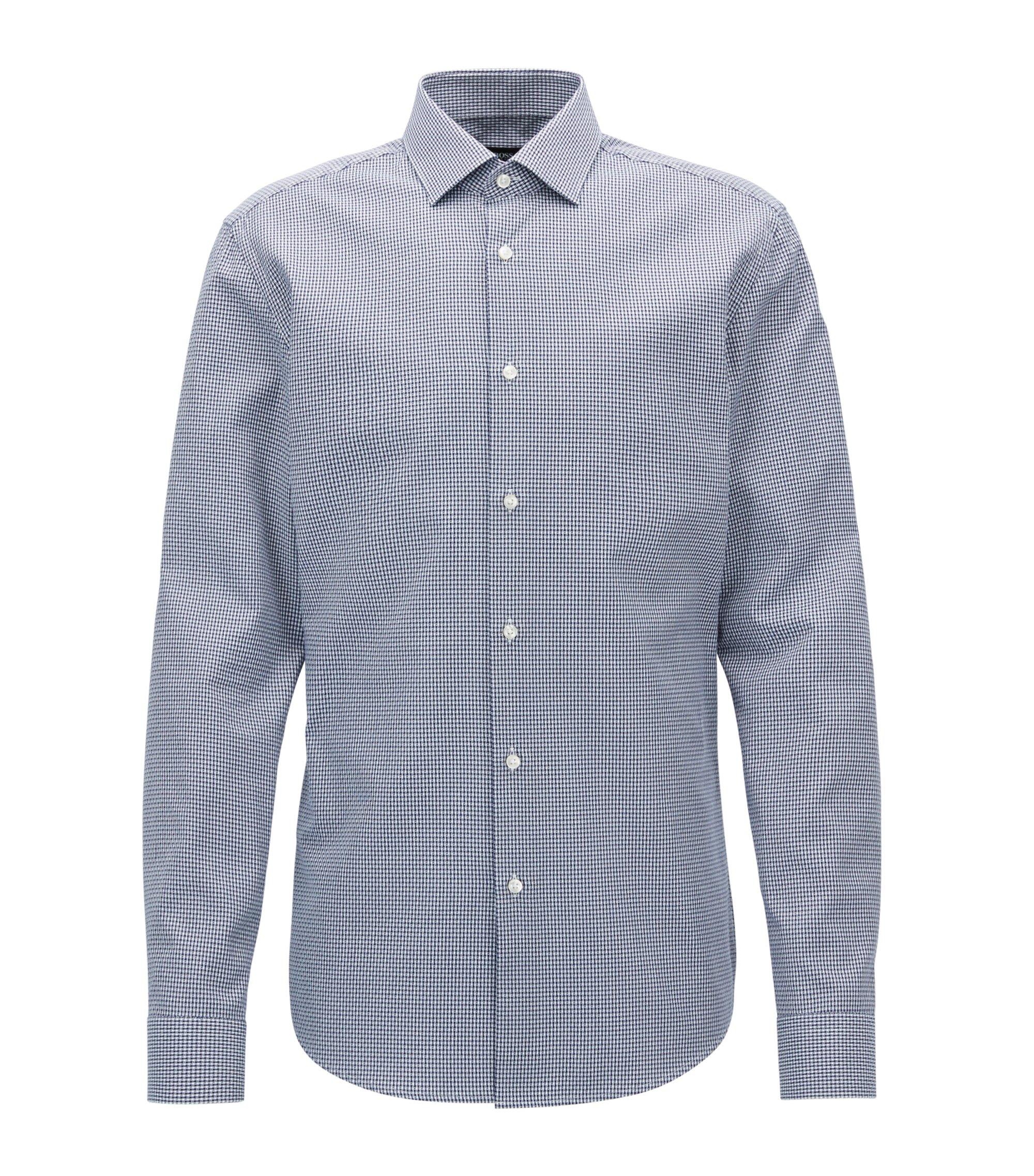 Checked Cotton Dress Shirt, Slim Fit | Ismo, Dark Blue