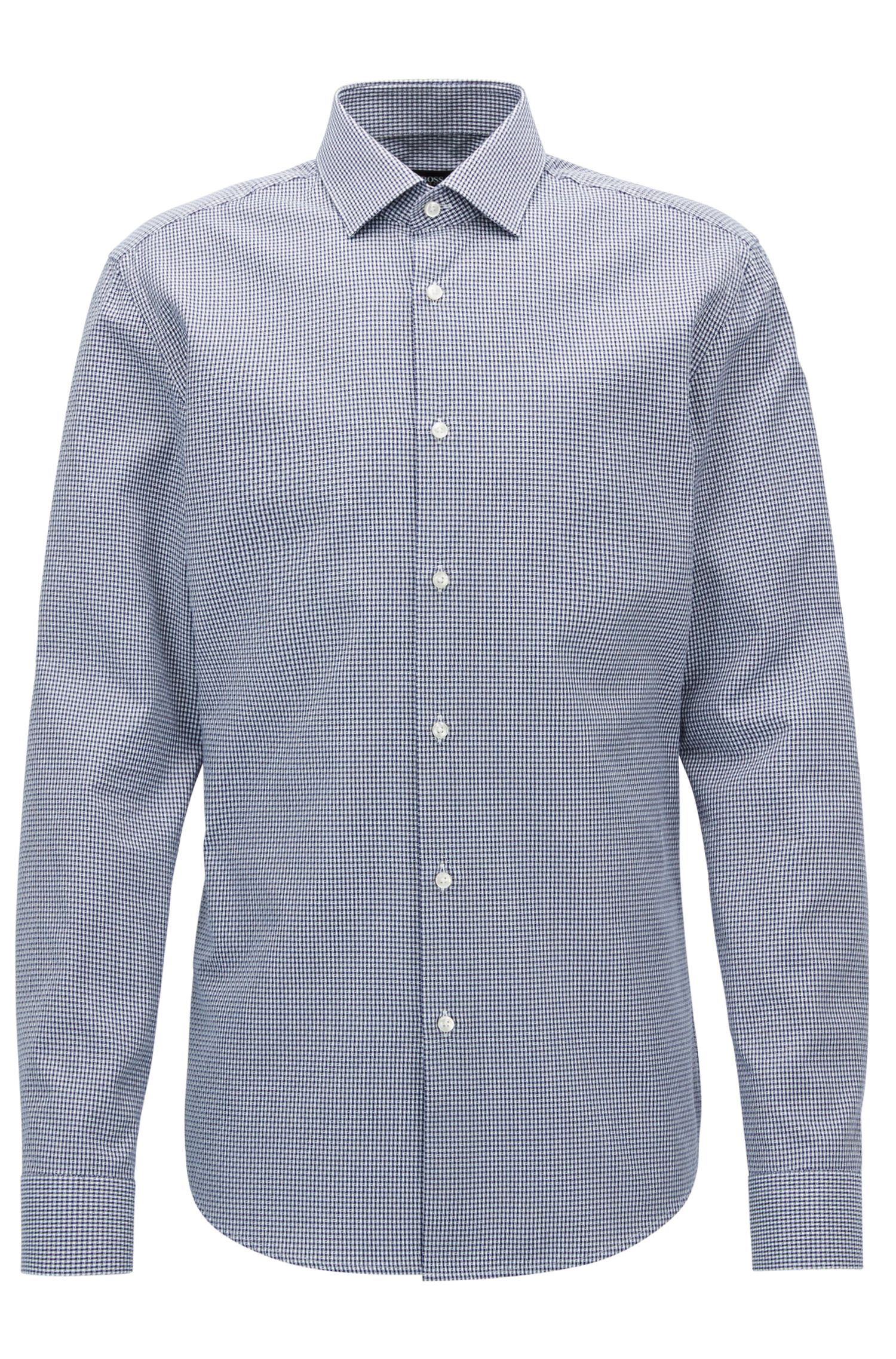 Checked Cotton Dress Shirt, Slim Fit | Ismo