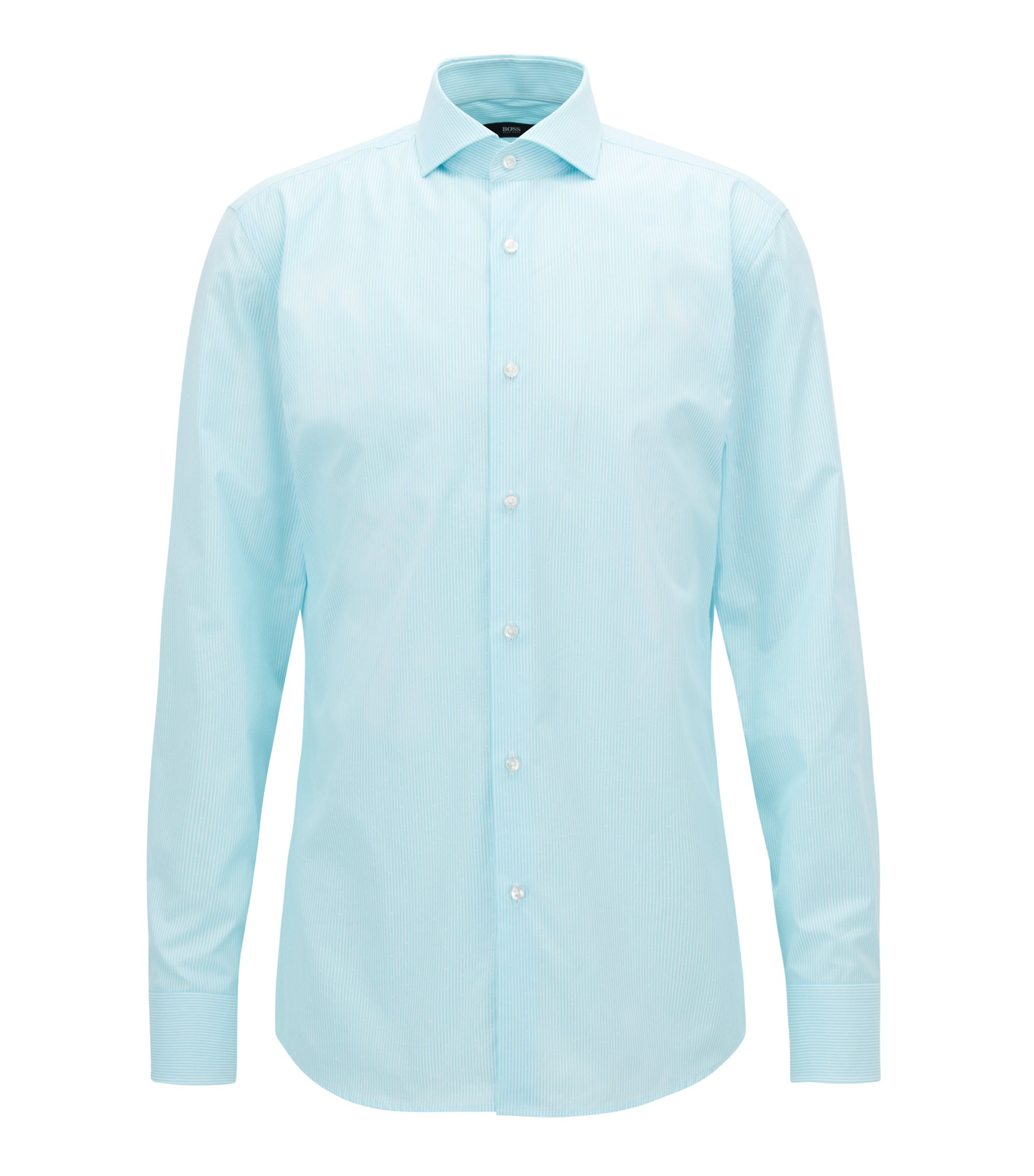 Striped Cotton Dress Shirt, Slim Fit | Jason, Turquoise