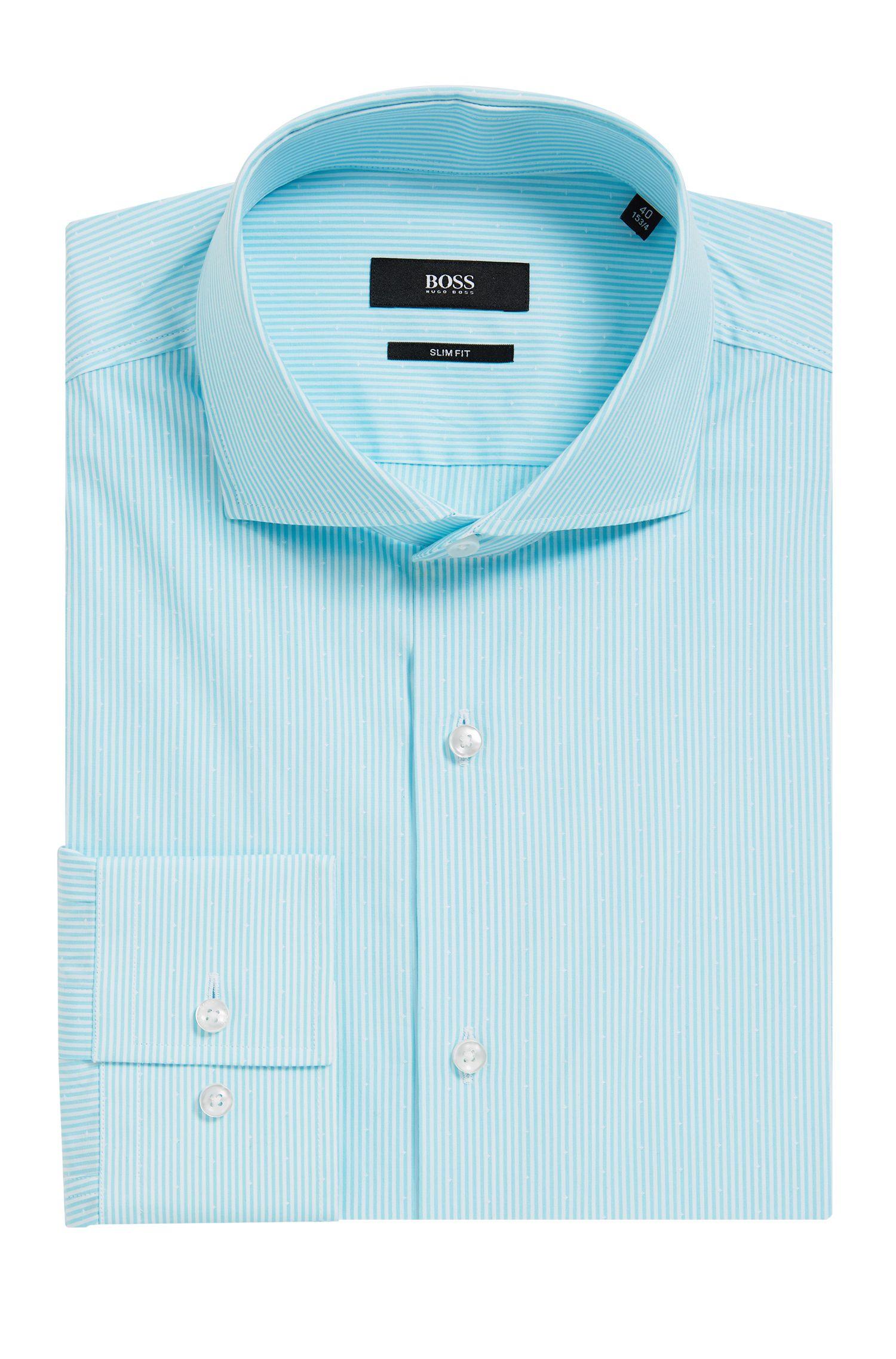Striped Cotton Dress Shirt, Slim Fit | Jason, Turquoise