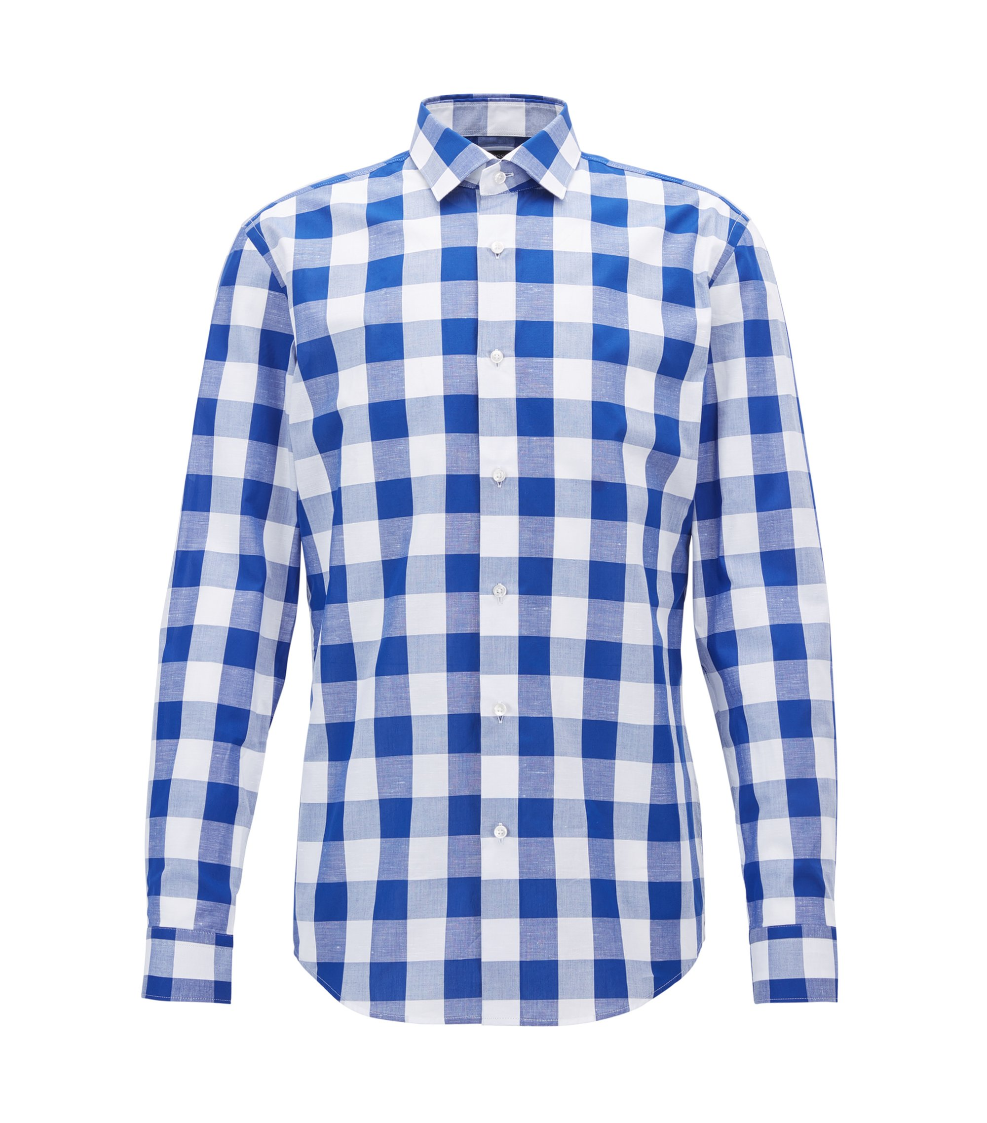 Checked Cotton Linen Dress Shirt, Slim Fit | Ismo, Blue