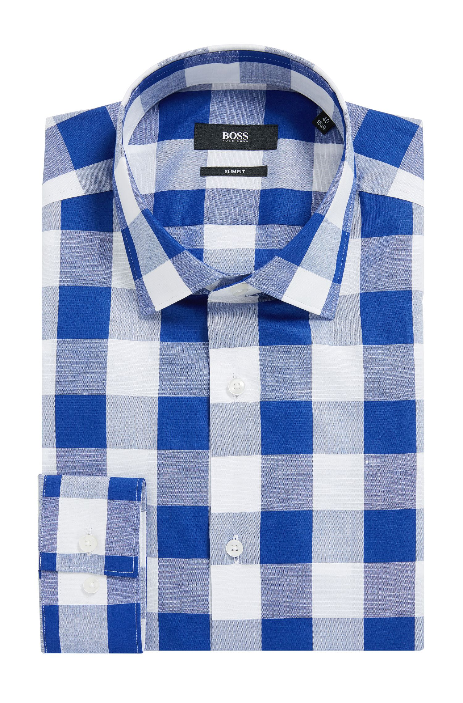 Checked Cotton Linen Dress Shirt, Slim Fit | Ismo