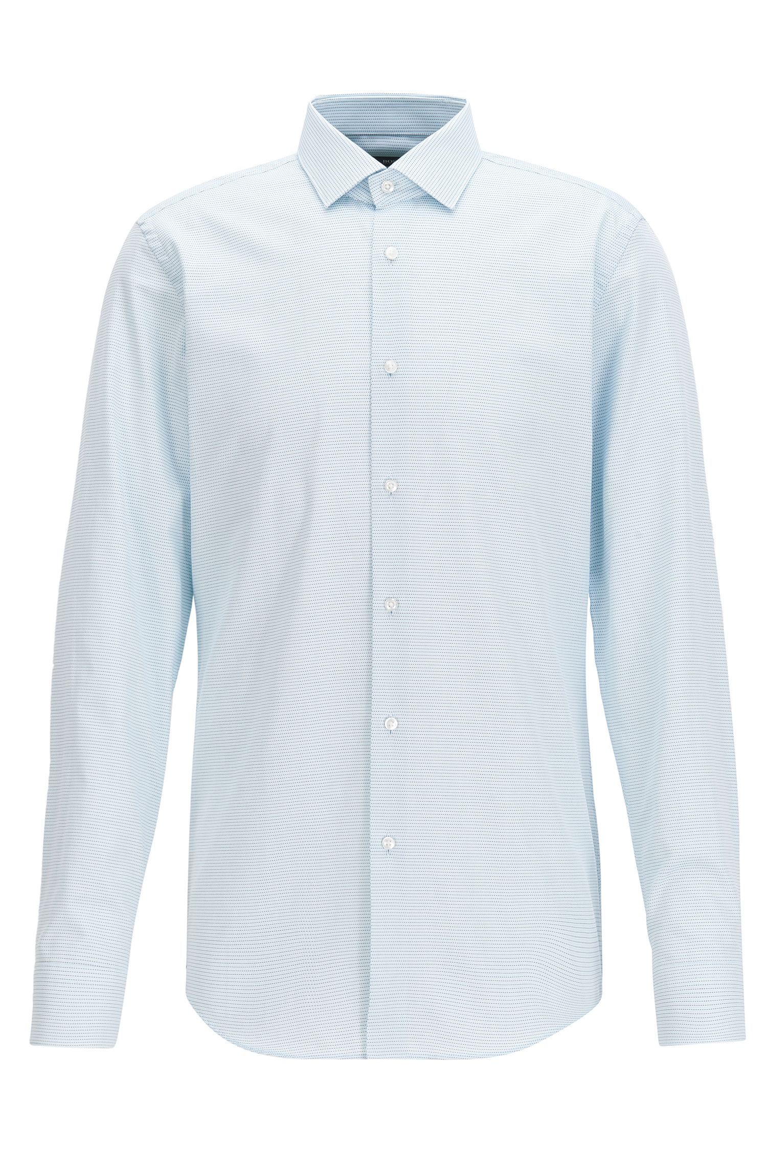 Micro-Pattern Cotton Dress Shirt, Slim Fit | Ismo