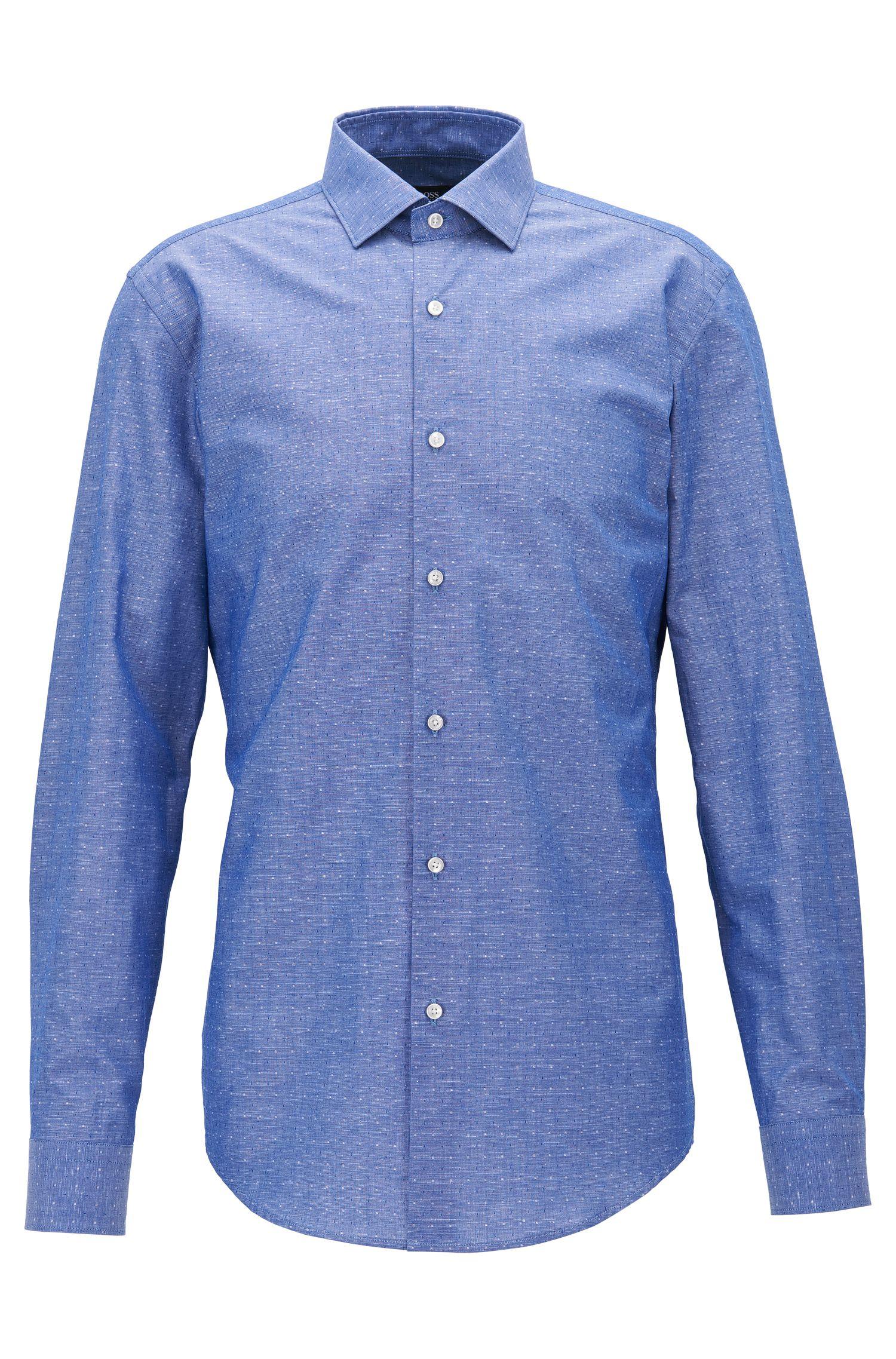 Cotton Linen Dress Shirt, Slim Fit | Ismo, Blue