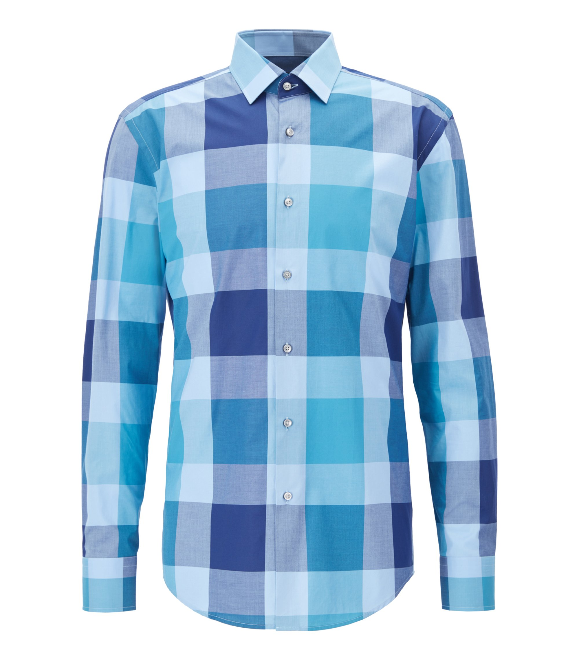 Oversize Check Cotton Dress Shirt, Slim Fit | Jenno, Open Blue