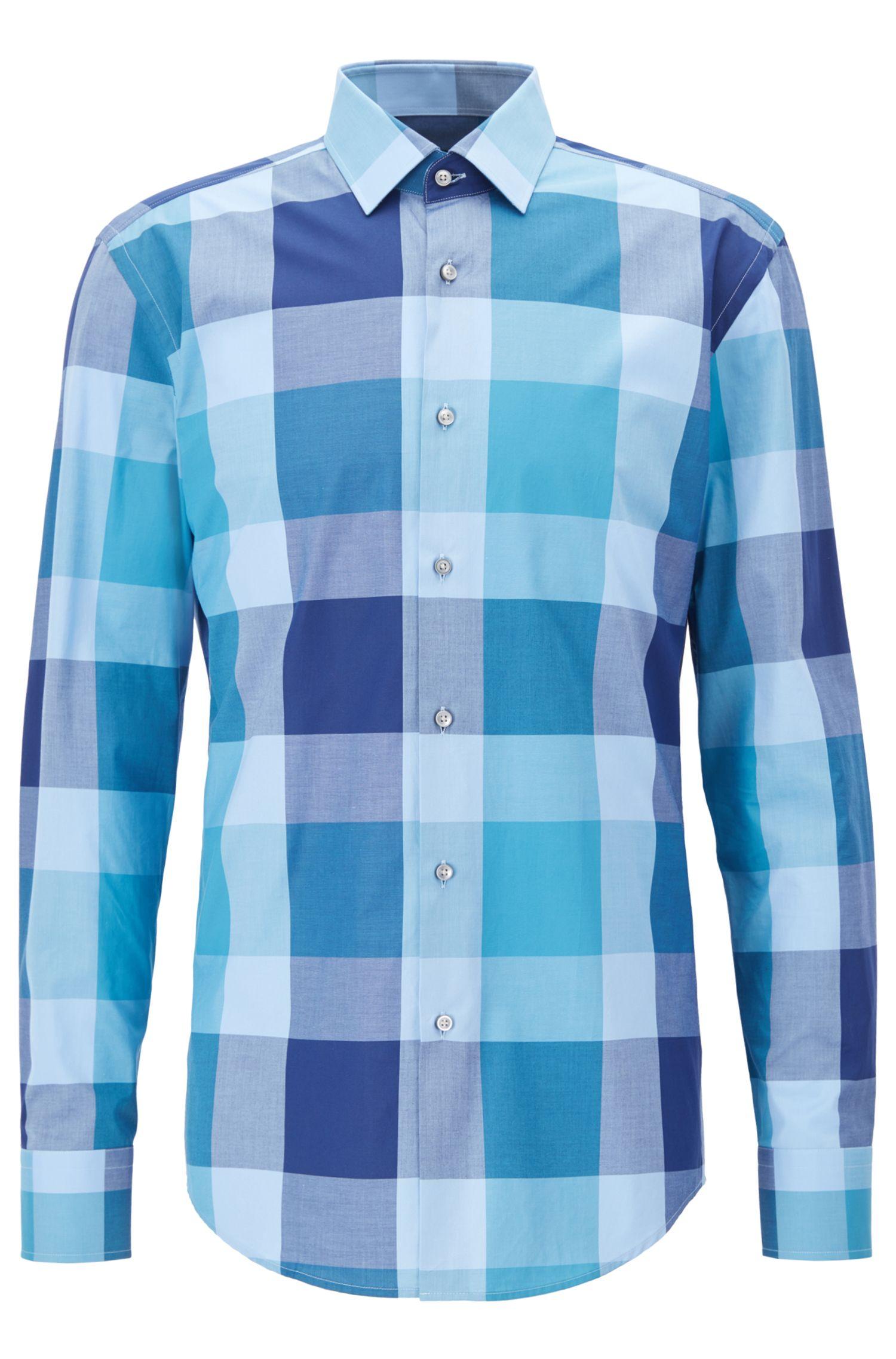 Oversize Check Cotton Dress Shirt, Slim Fit   Jenno