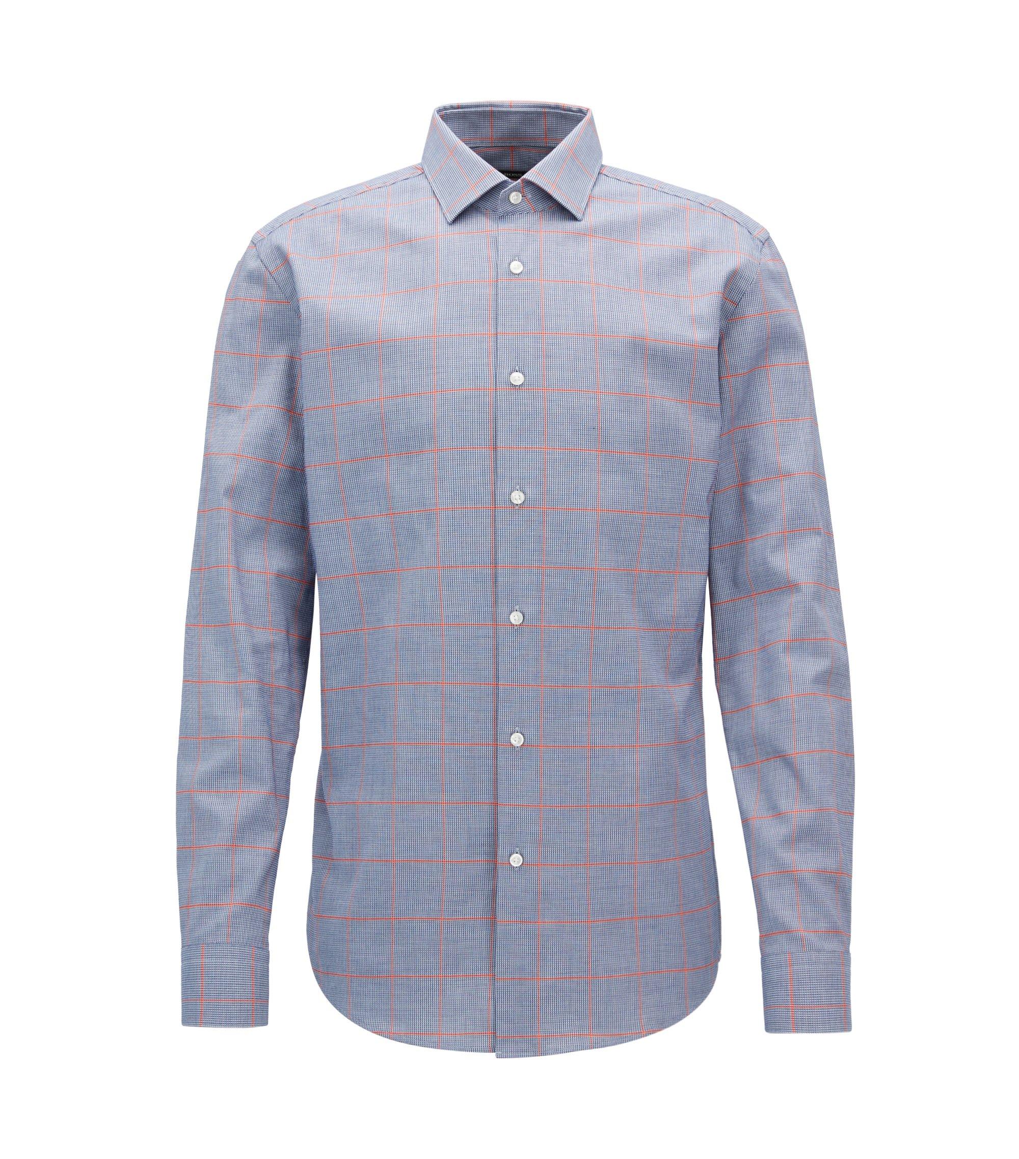 Windowpane Cotton Dress Shirt, Slim Fit | Ismo, Dark Blue