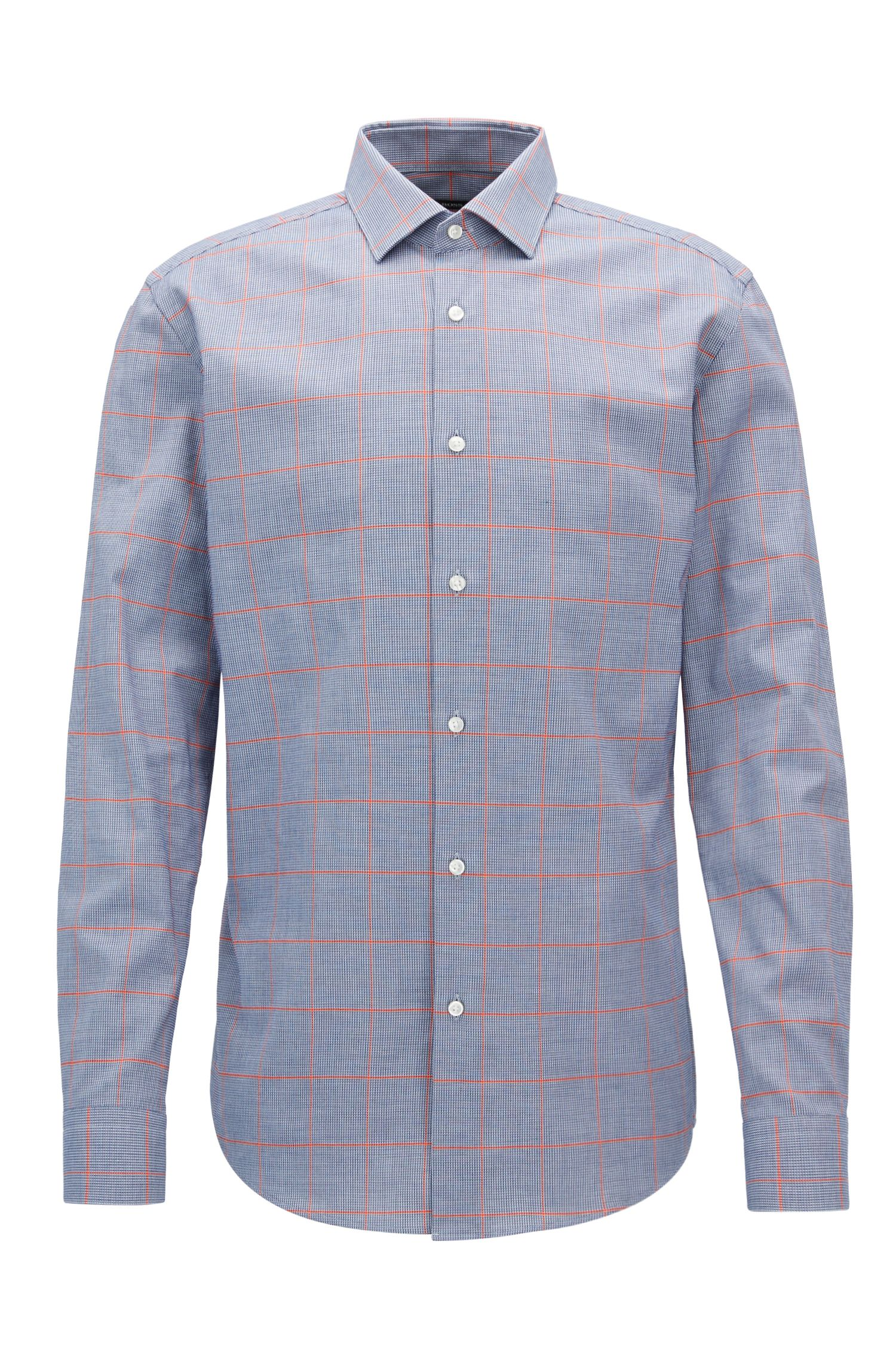 Windowpane Cotton Dress Shirt, Slim Fit | Ismo, Dark Blue