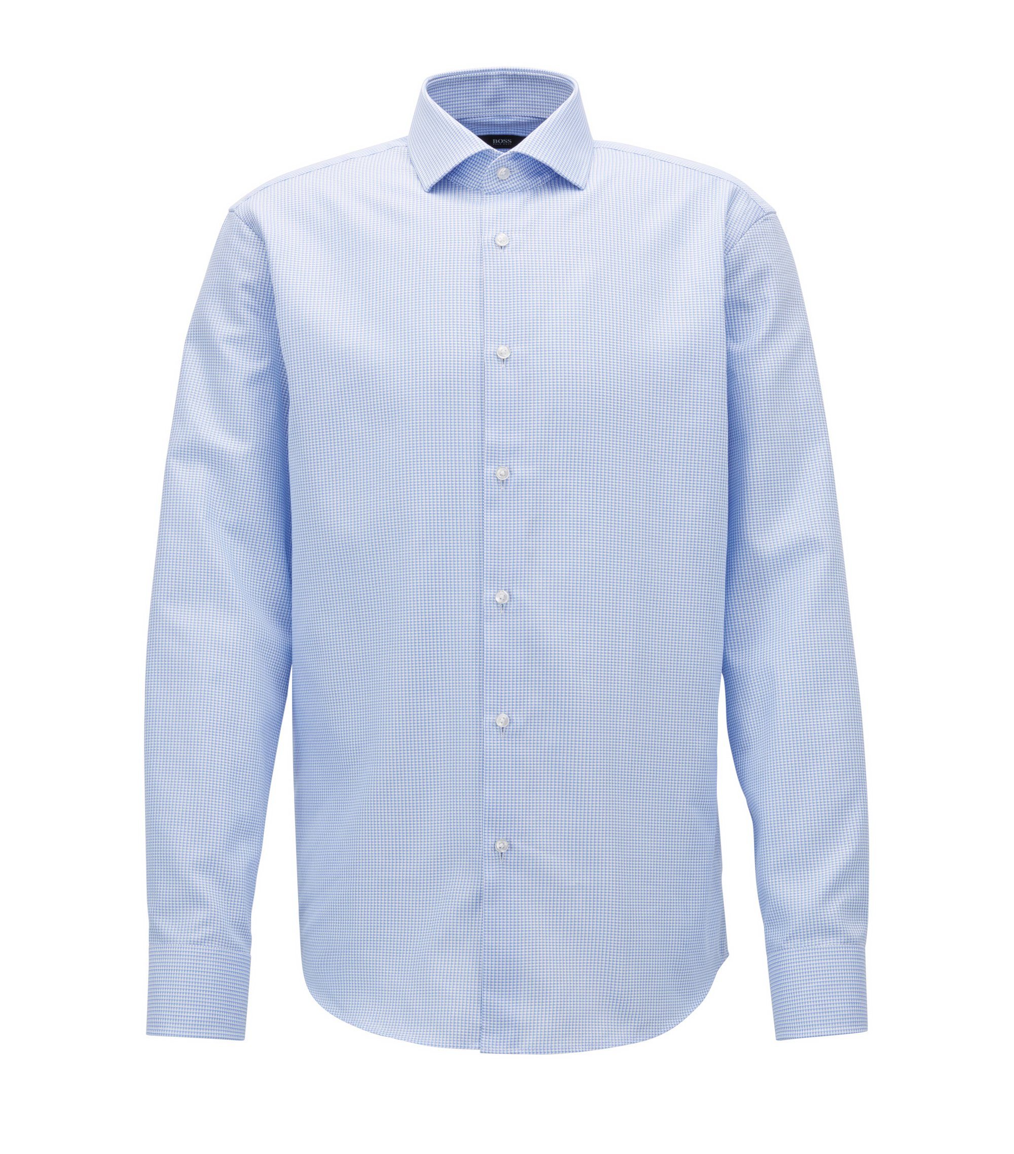 Checked Cotton Dress Shirt, Regular Fit | Gordon, Light Blue