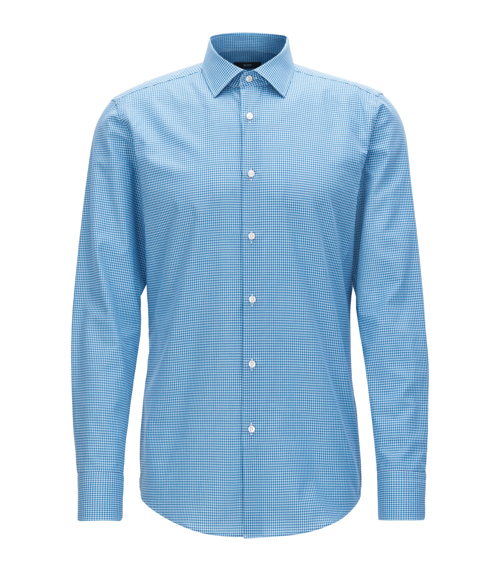 Checked Cotton Dress Shirt, Slim Fit | Jenno, Turquoise