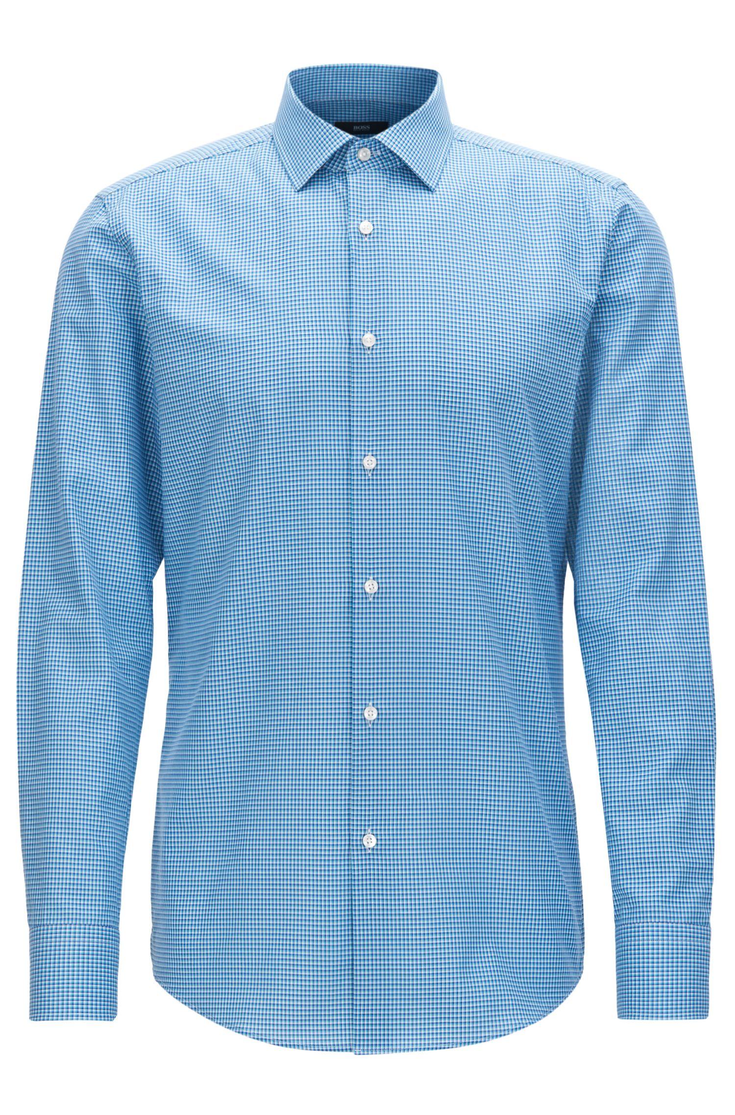 Checked Cotton Dress Shirt, Slim Fit | Jenno