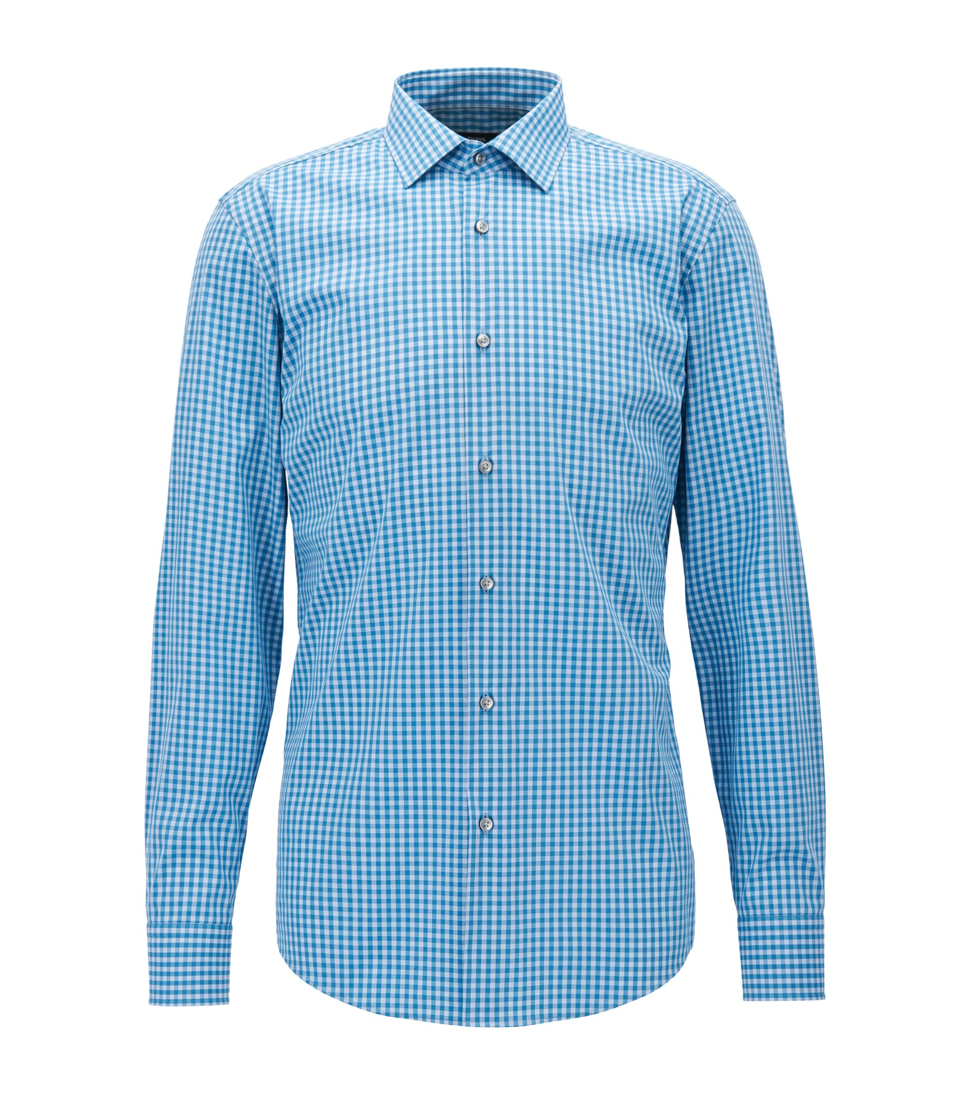 Gingham Cotton Blend Dress Shirt, Slim Fit | Jenno, Turquoise