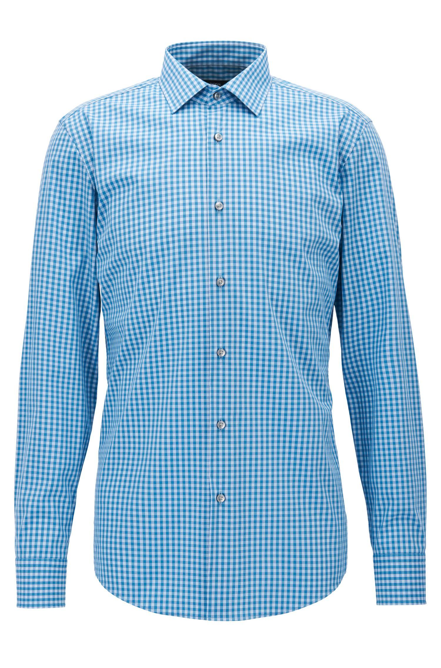 Gingham Cotton Blend Dress Shirt, Slim Fit | Jenno