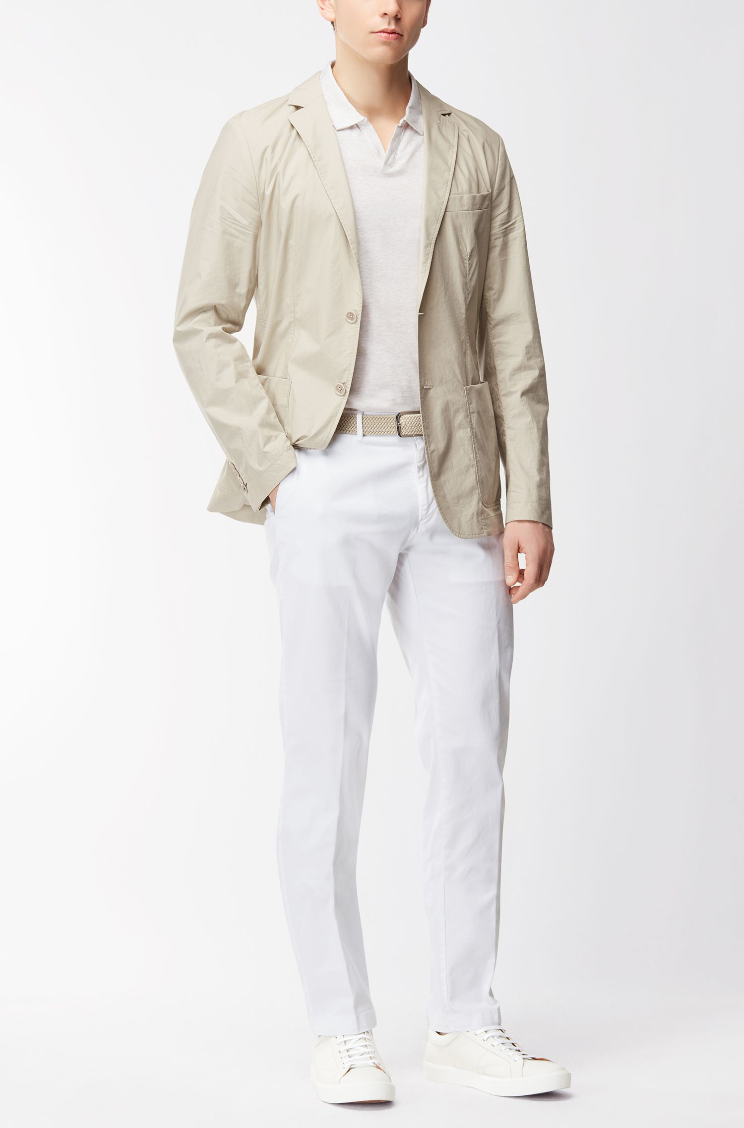 Cotton Linen Polo Shirt, Slim Fit | Plato, Natural