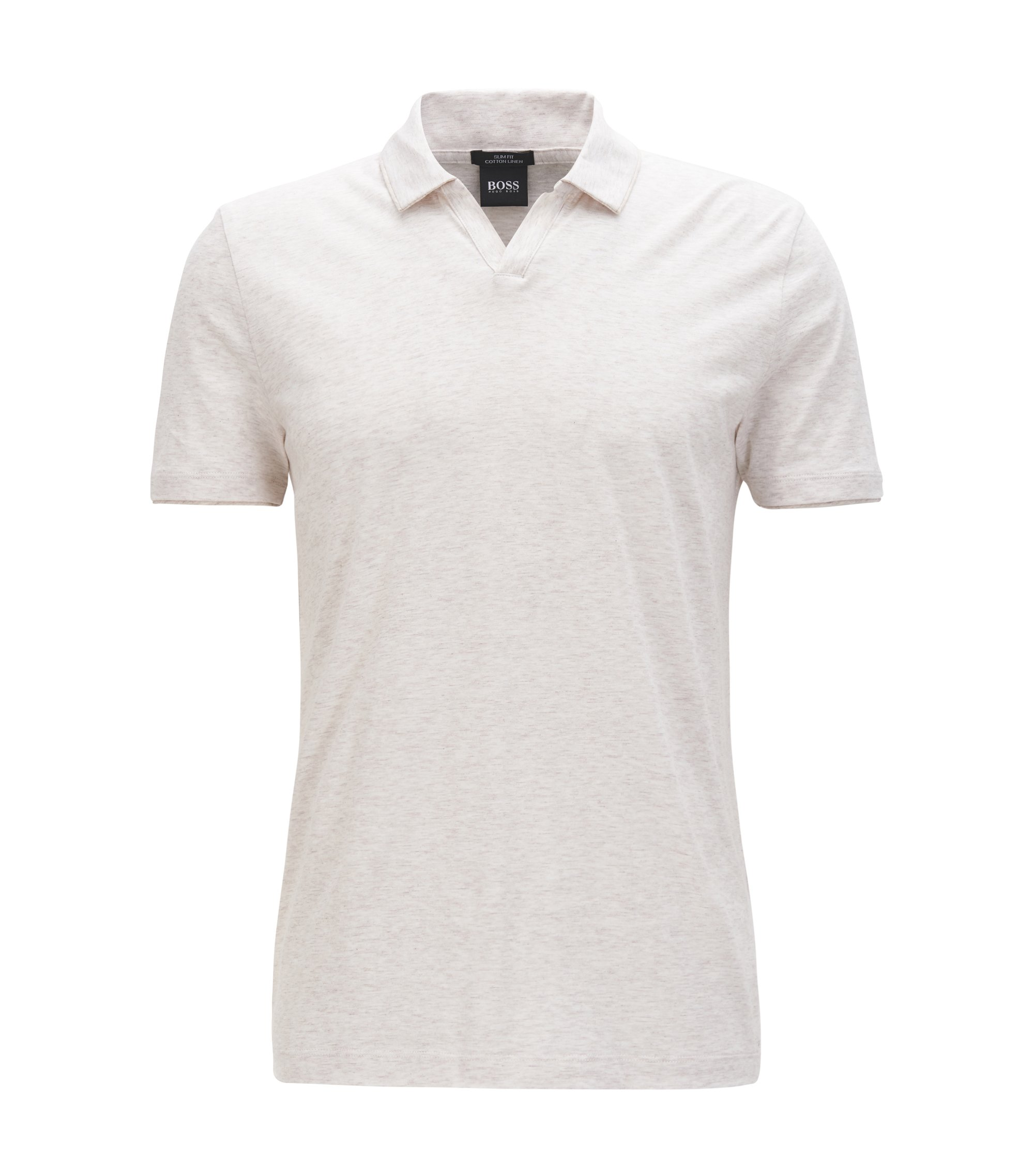 Cotton Linen Polo Shirt, Slim Fit | Plato, Natural