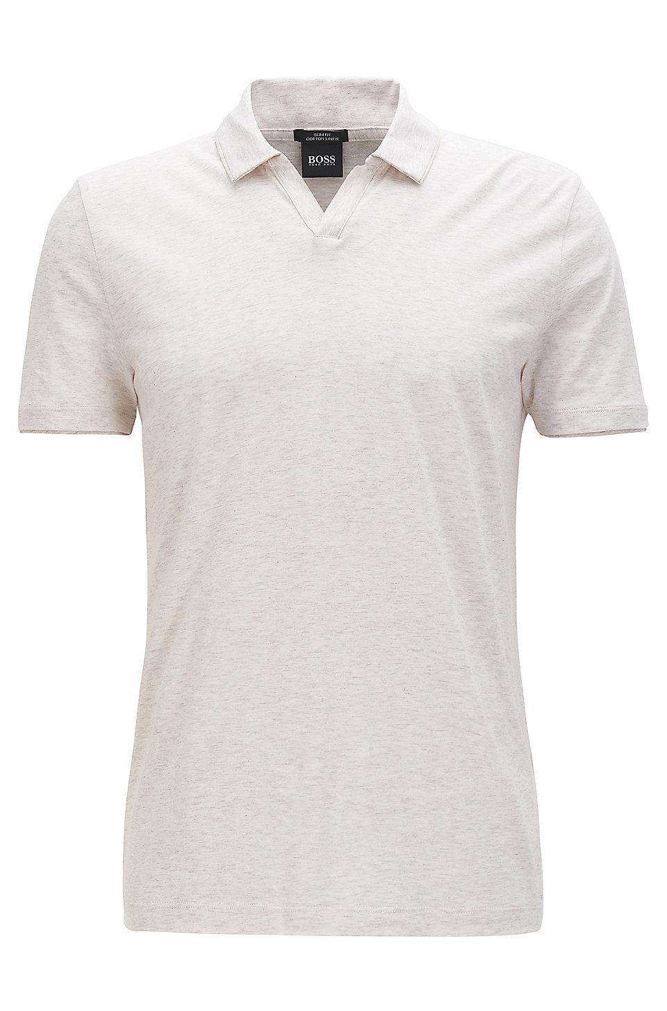 Boss Cotton Linen Polo Shirt Slim Fit Plato