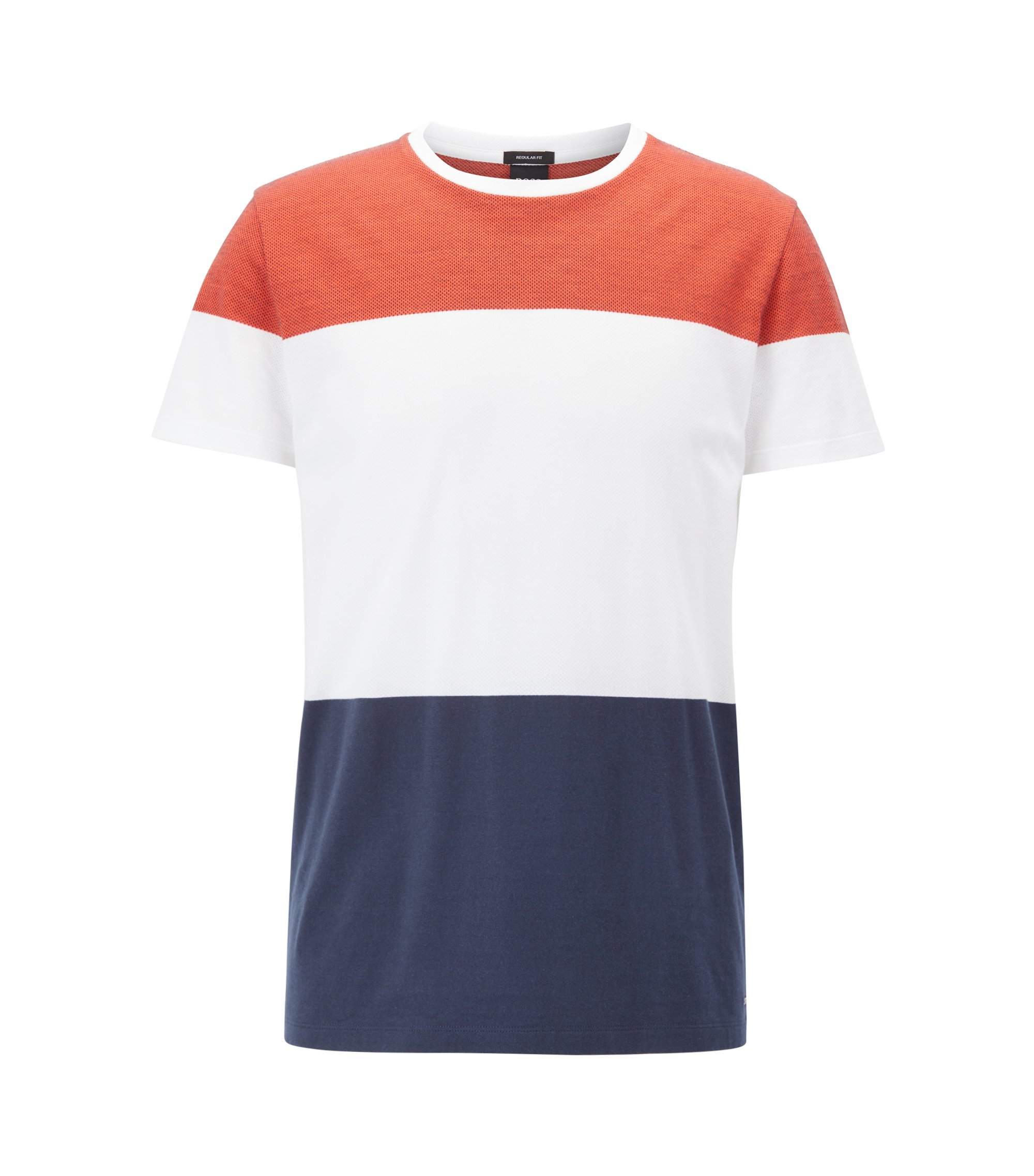 Colorblocked Cotton T-Shirt | Tiburt, Orange