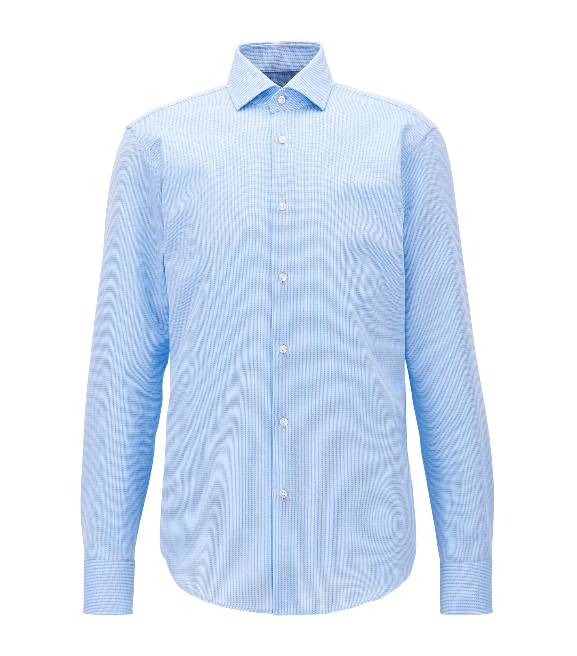 Checked Egyptian Cotton Dress Shirt, Regular Fit | Gordon, Light Blue