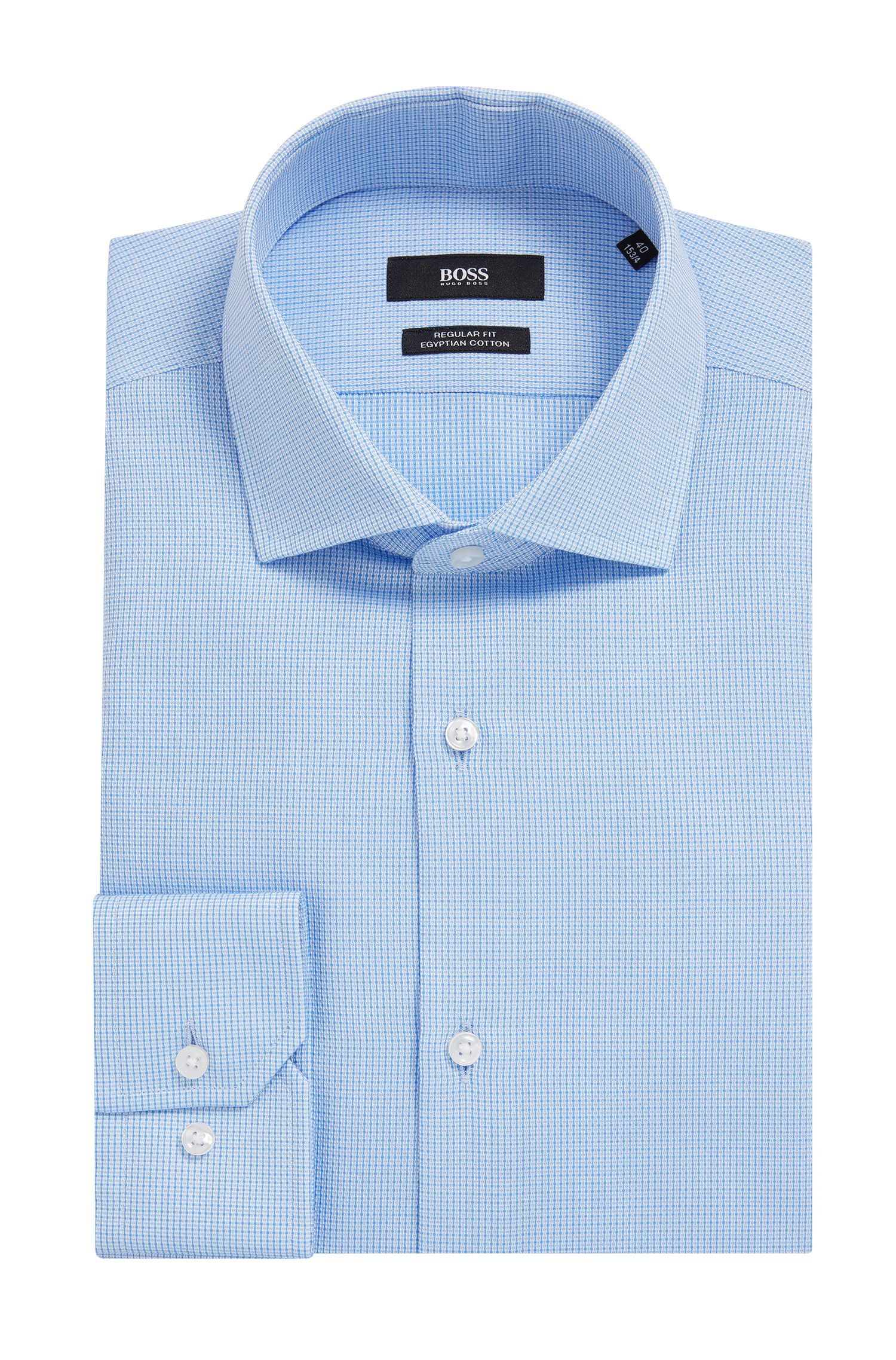 Checked Egyptian Cotton Dress Shirt, Regular Fit | Gordon