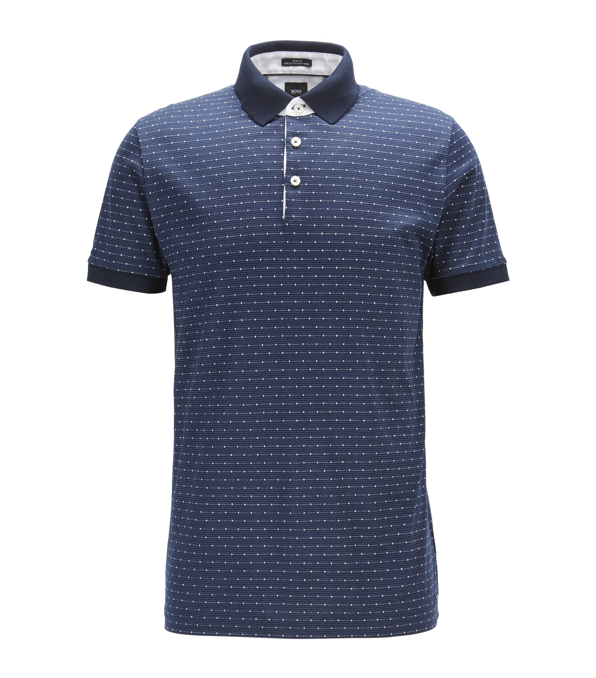 Houndstooth Italian Cotton Polo Shirt, Slim Fit | T-Peterson, Dark Blue