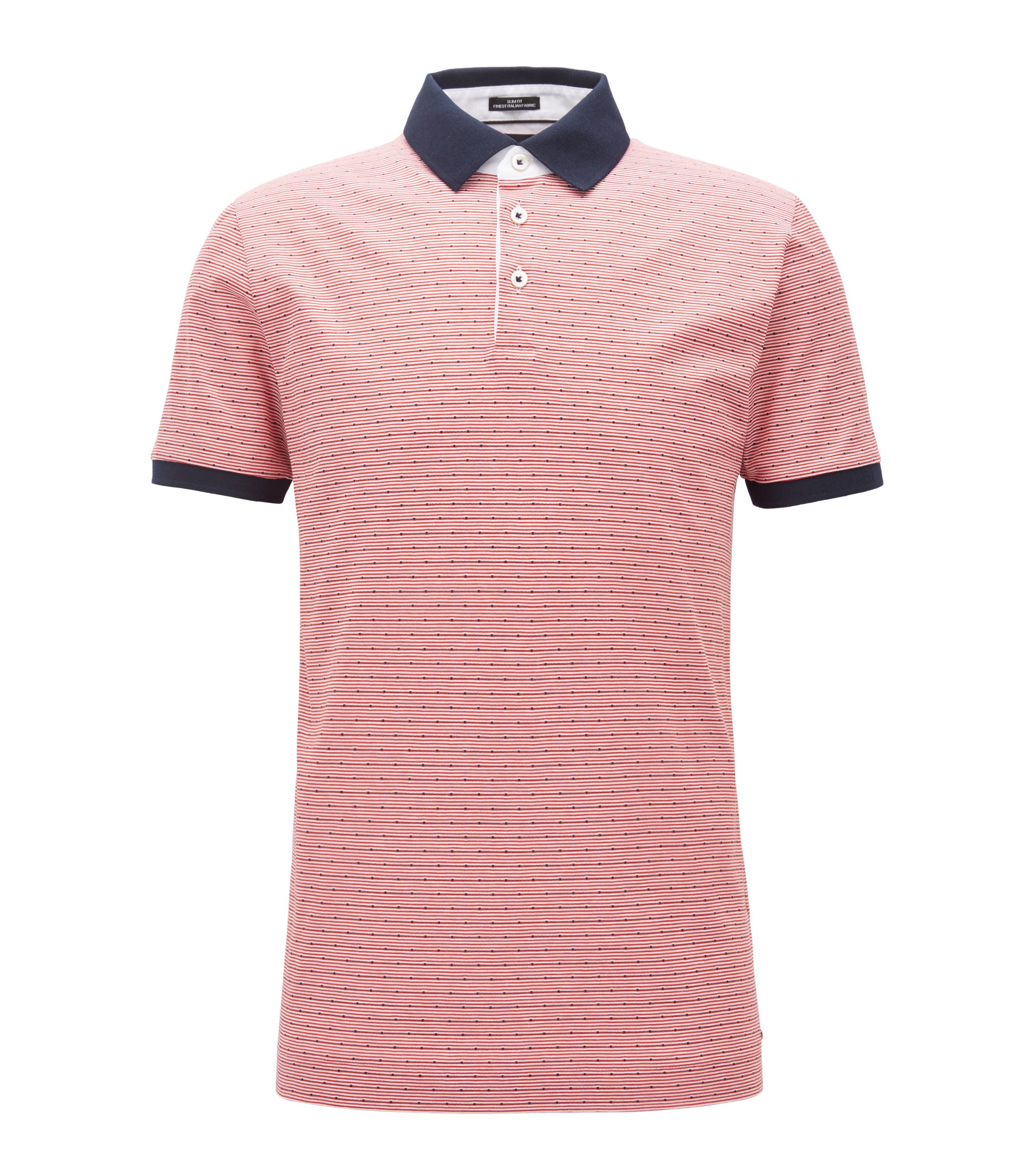 Houndstooth Italian Cotton Polo Shirt, Slim Fit | T-Peterson, Dark Orange
