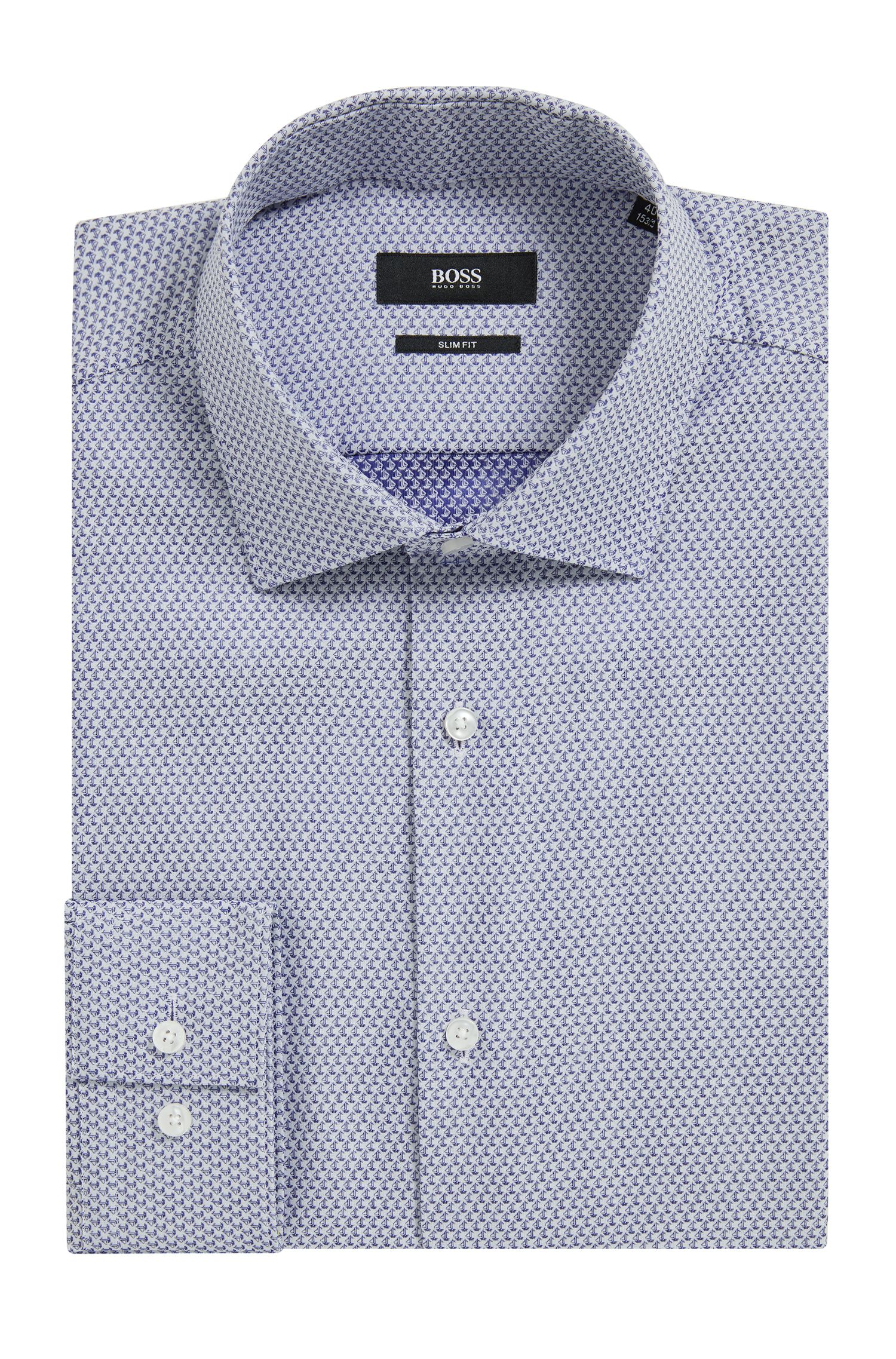 Boat-Print Cotton Dress Shirt, Slim Fit | Ismo, Blue