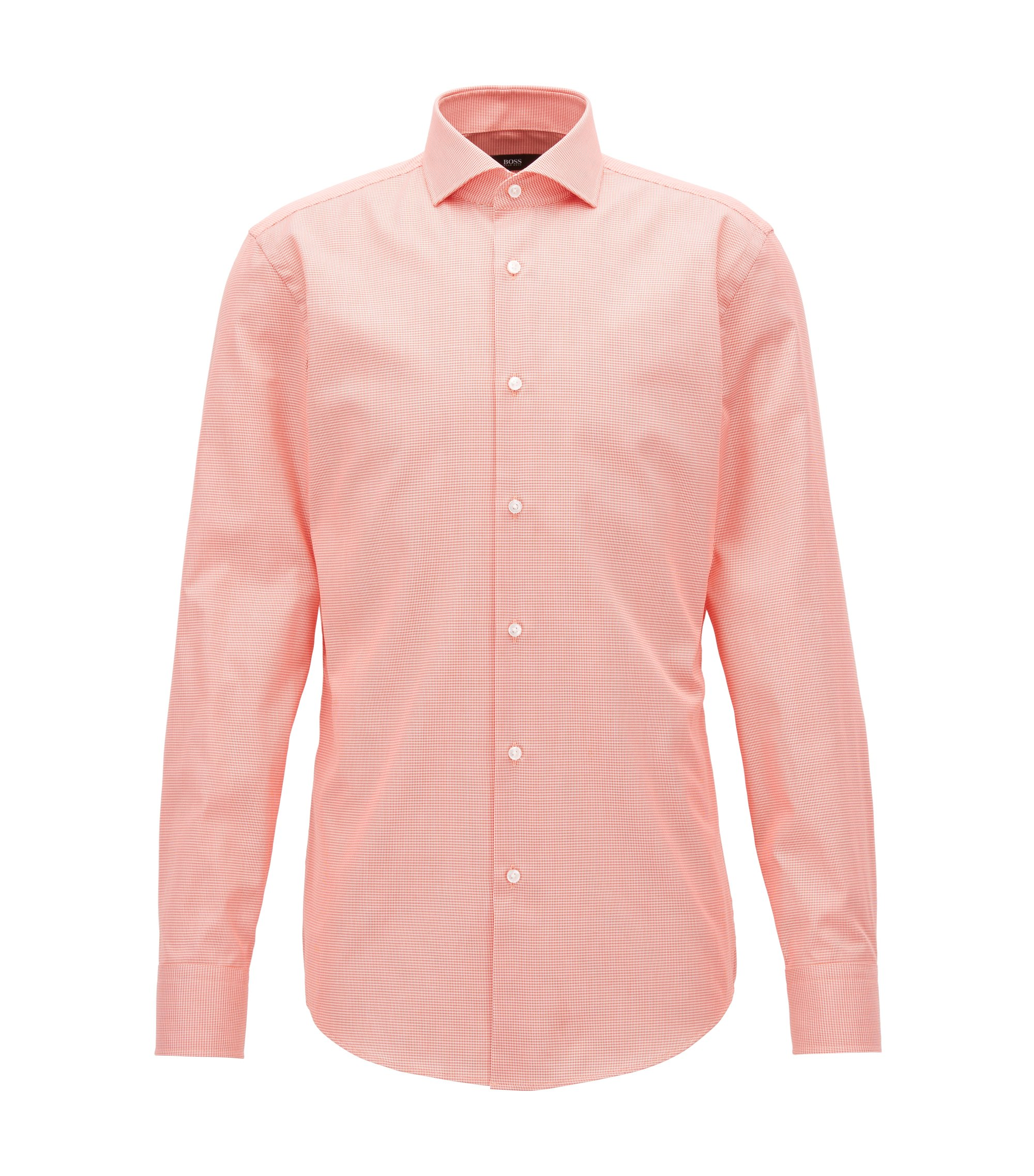 Puppytooth Cotton Dress Shirt, Slim Fit | Jason, Orange