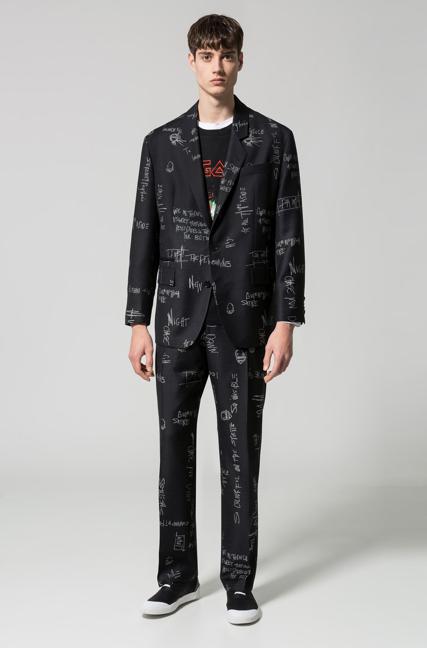 Scribble-Print Virgin Wool Suit, Oversized Fit | Ursus/Faris, Black