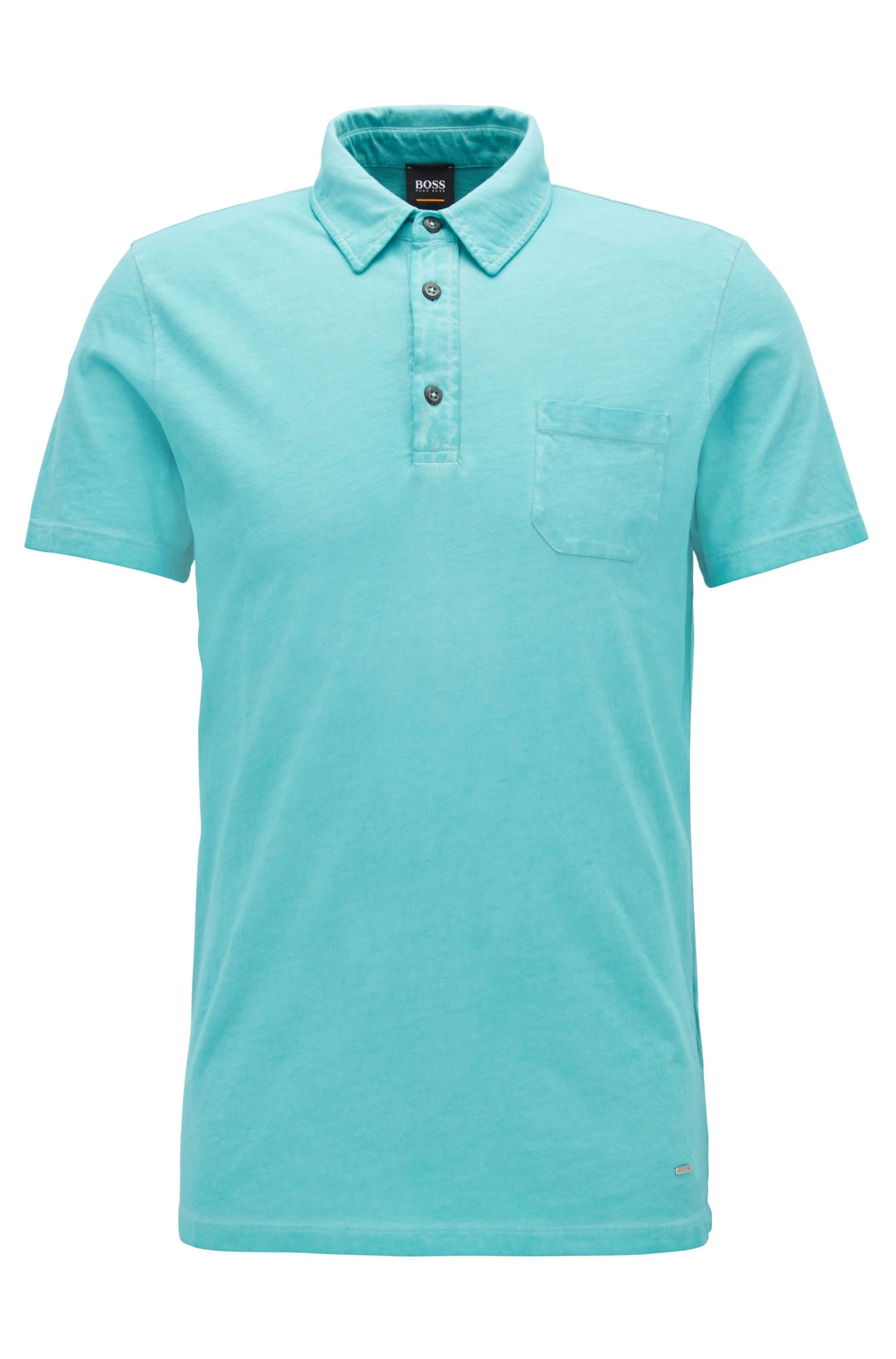 Garment-Dyed Cotton Polo Shirt, Regular Fit | Purpose, Turquoise