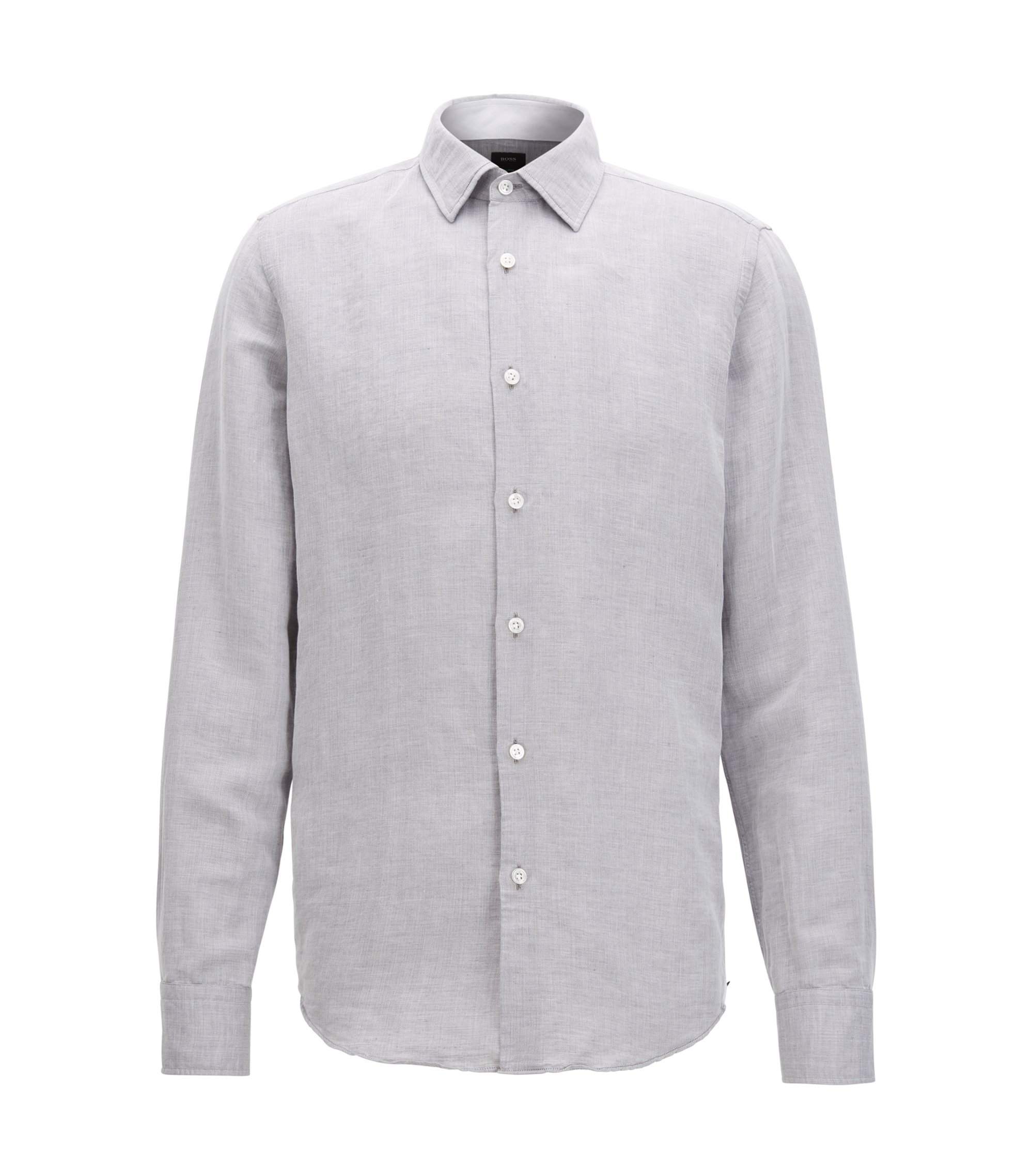 Cotton Linen Sport Shirt | T-Landon F, Open Grey