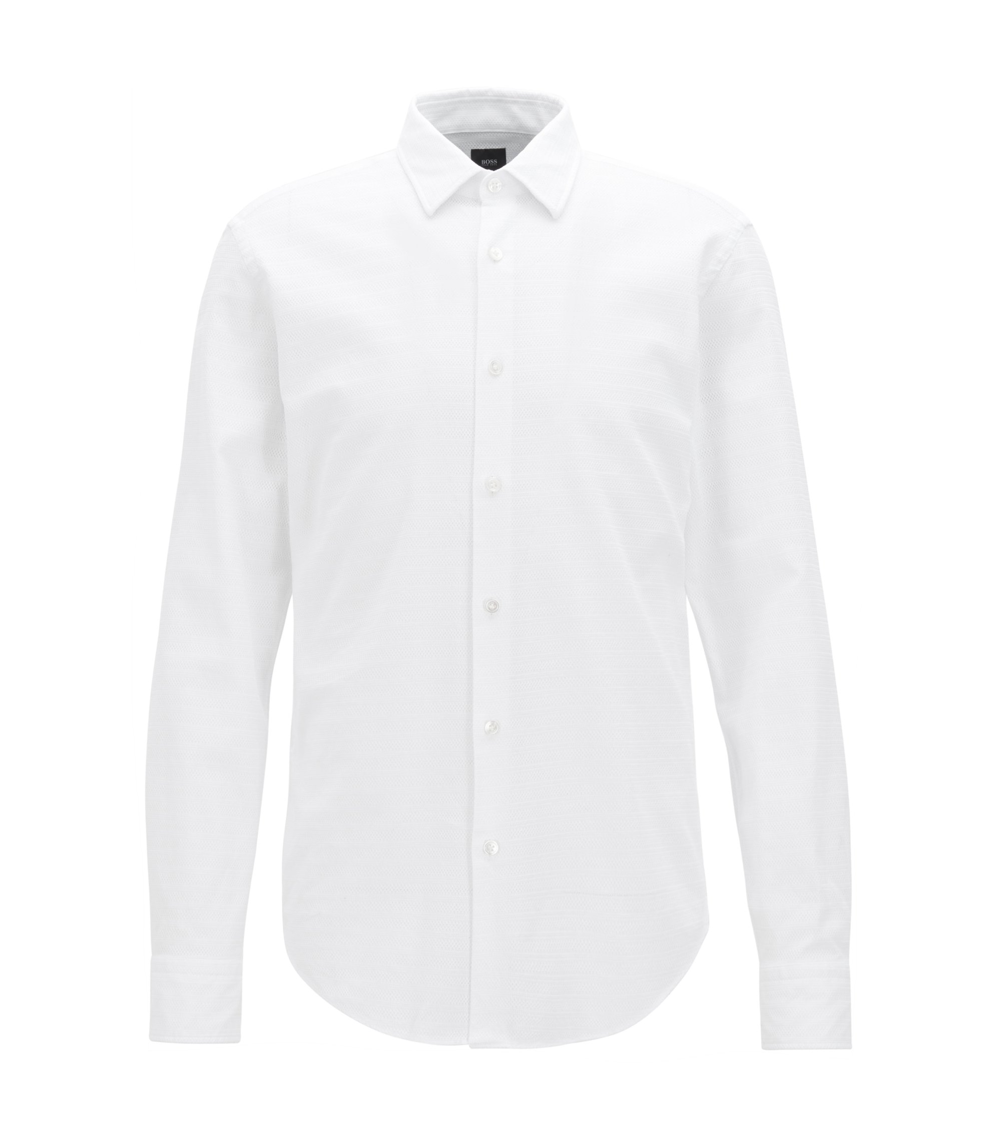 Striped Cotton Sport Shirt, Slim Fit | T-Riccardo F, White