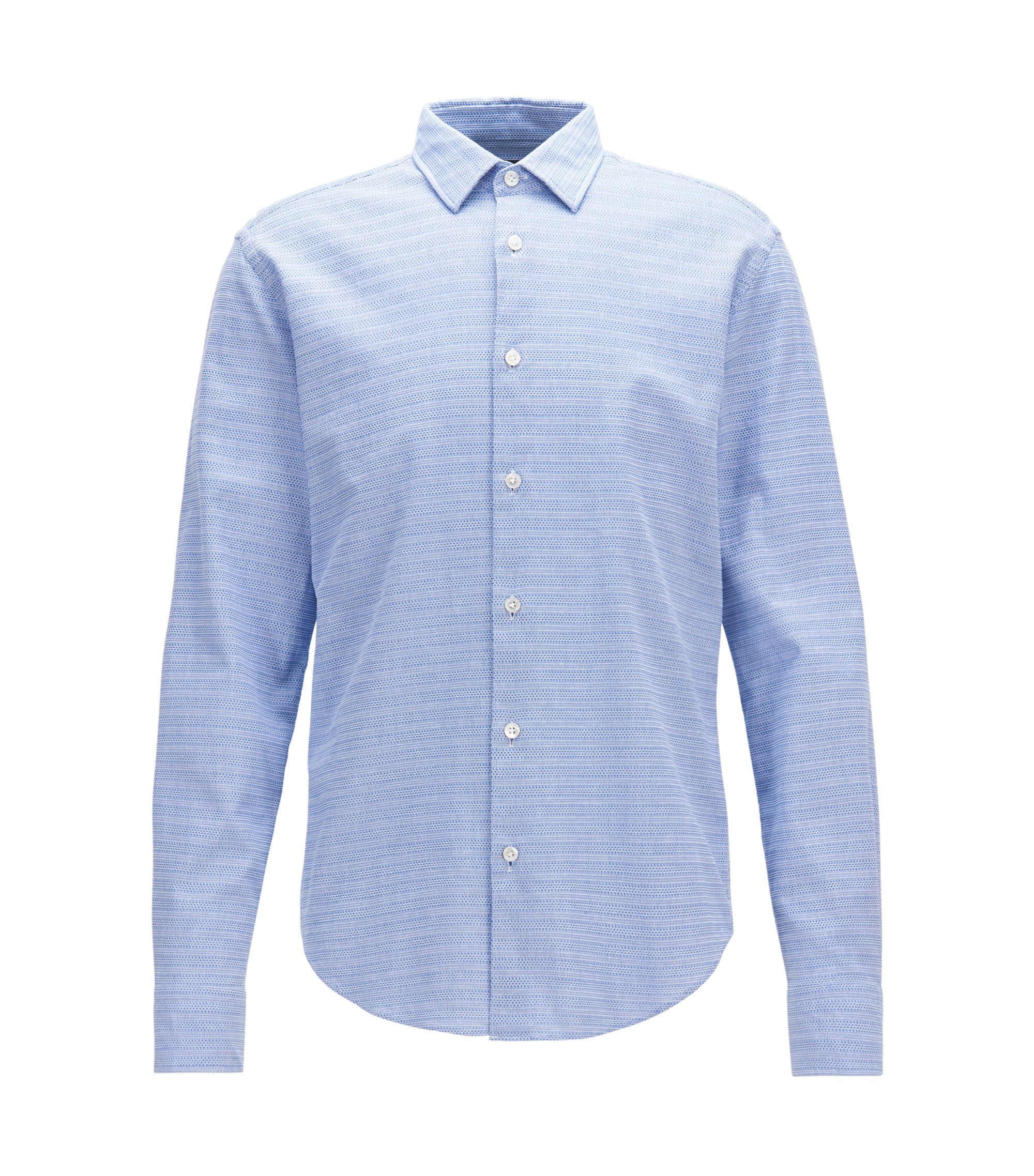Striped Cotton Sport Shirt, Slim Fit | T-Riccardo F, Dark Blue