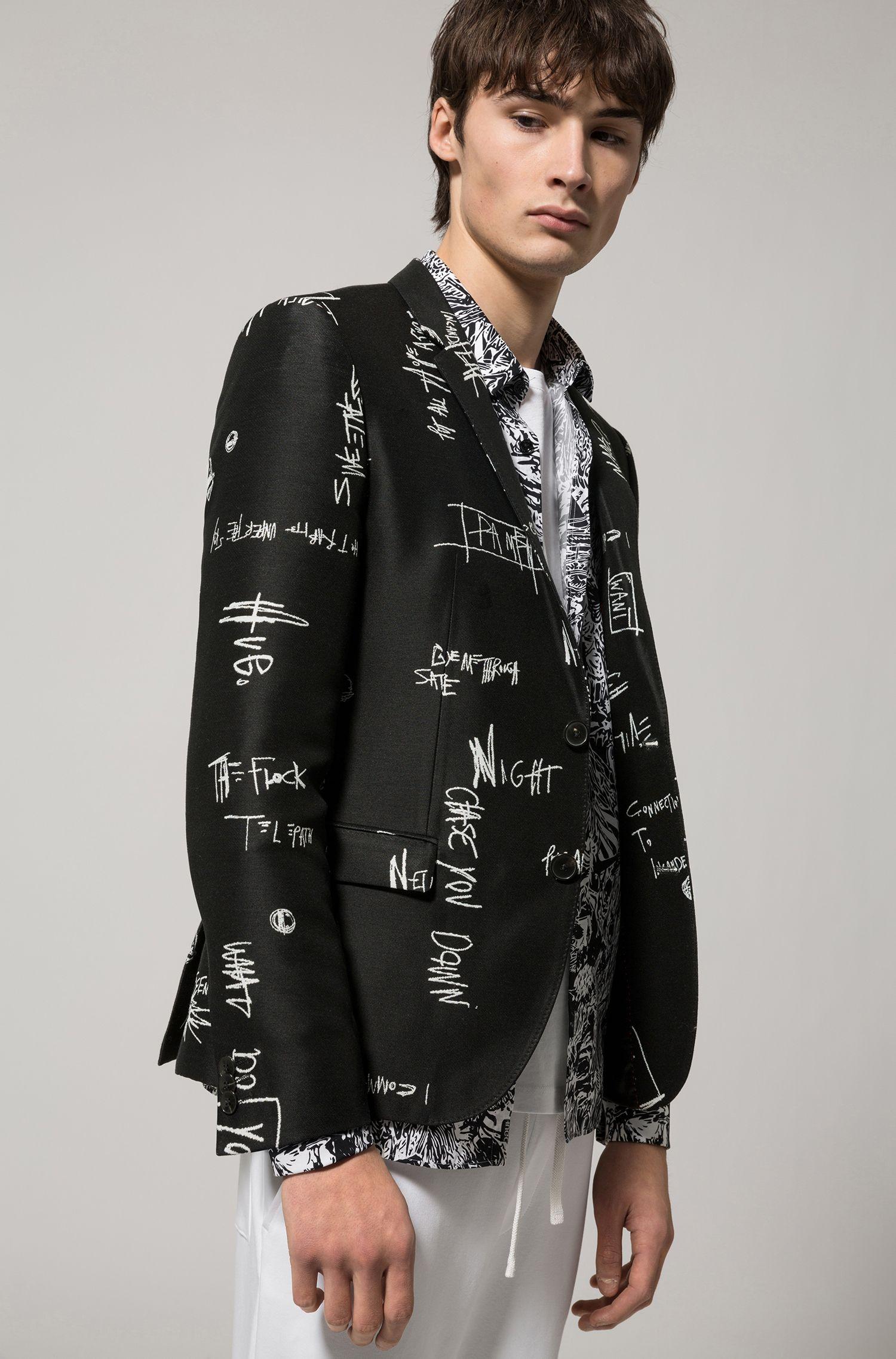 Scribble-Print Stretch Sport Coat, Extra Slim Fit | Arti