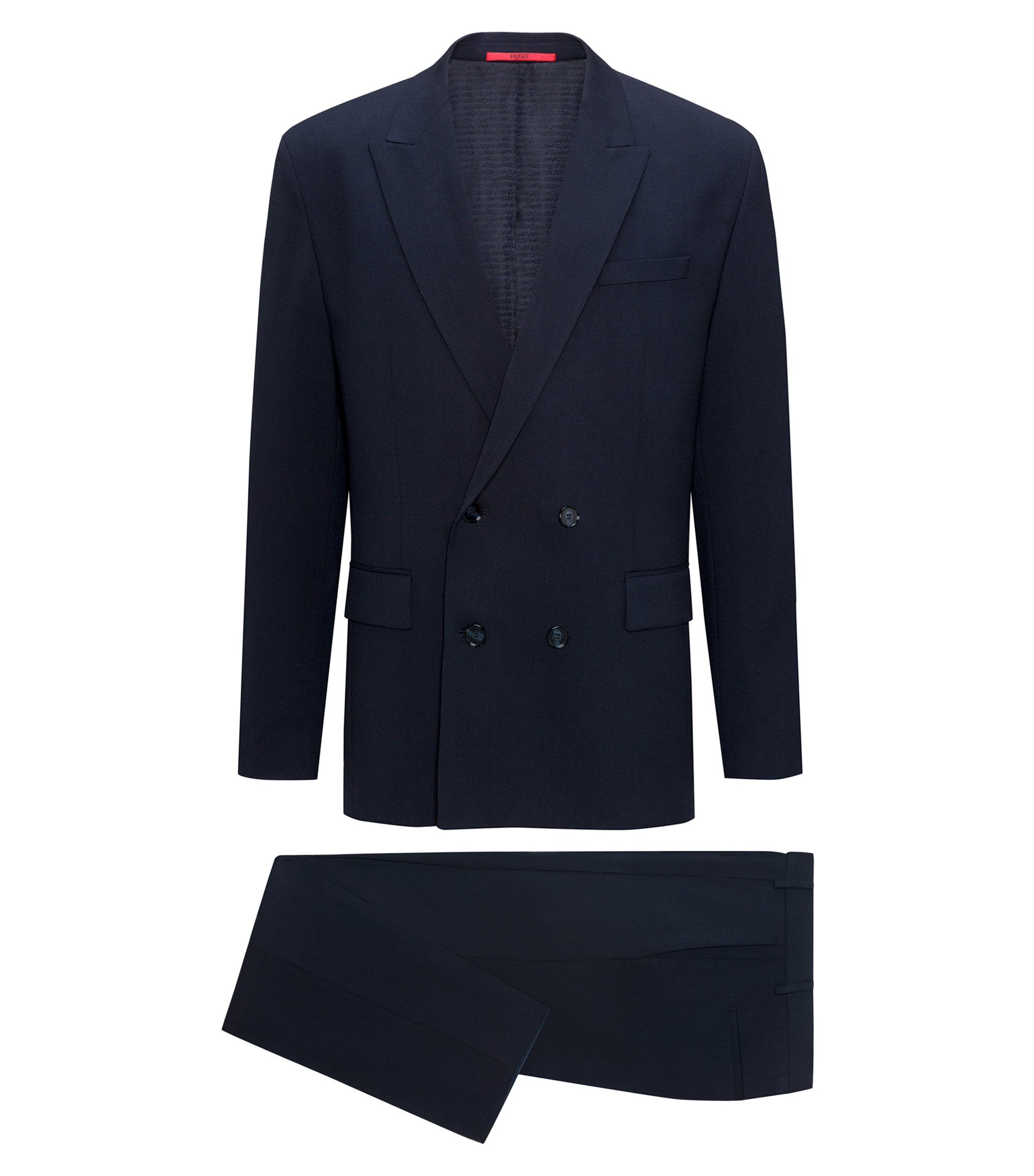 Virgin Wool Cotton Suit, Slim Fit | Ulan/Fabo, Dark Blue