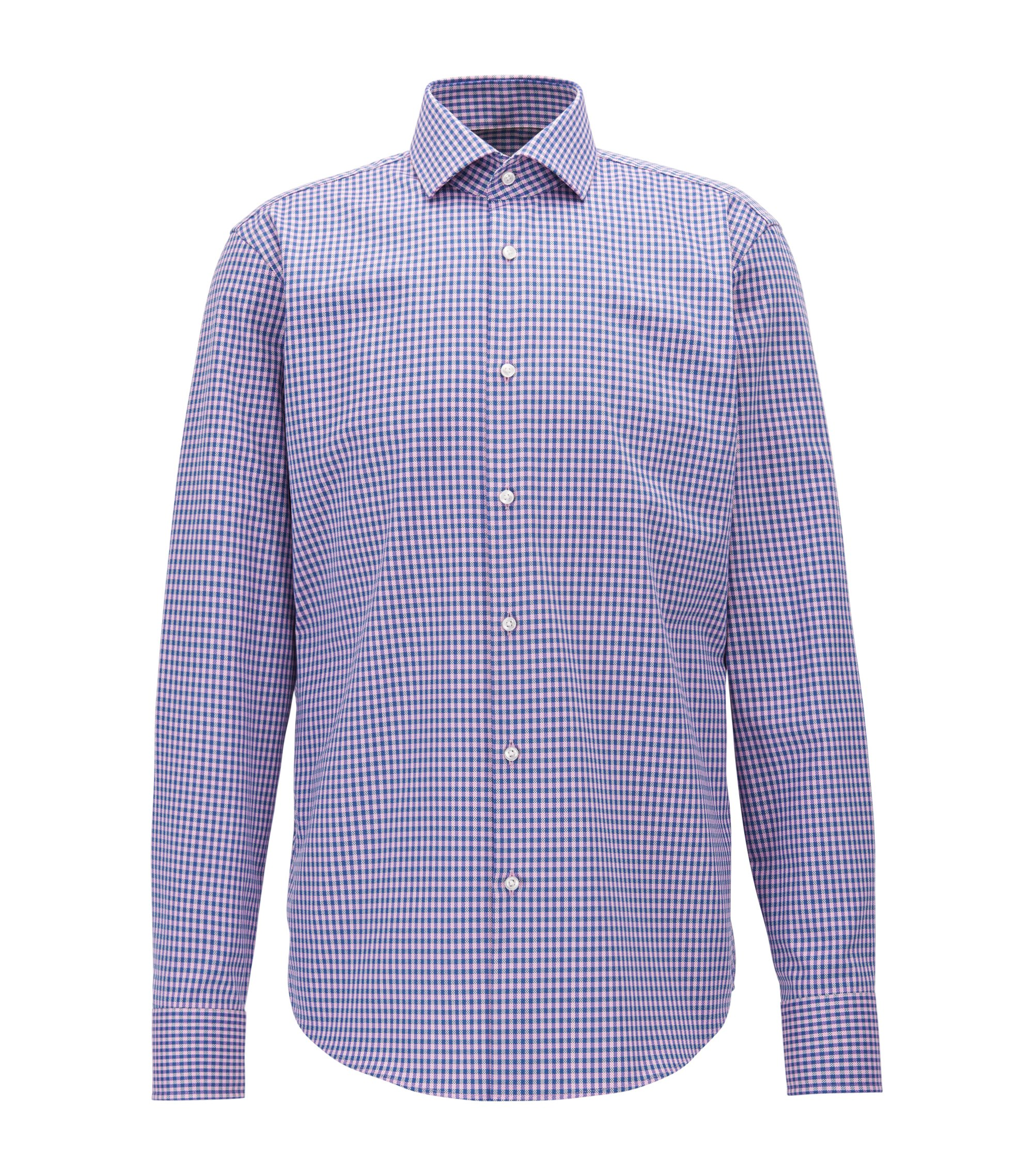 Checked Cotton Dress Shirt, Regular Fit | Gordon, Pink