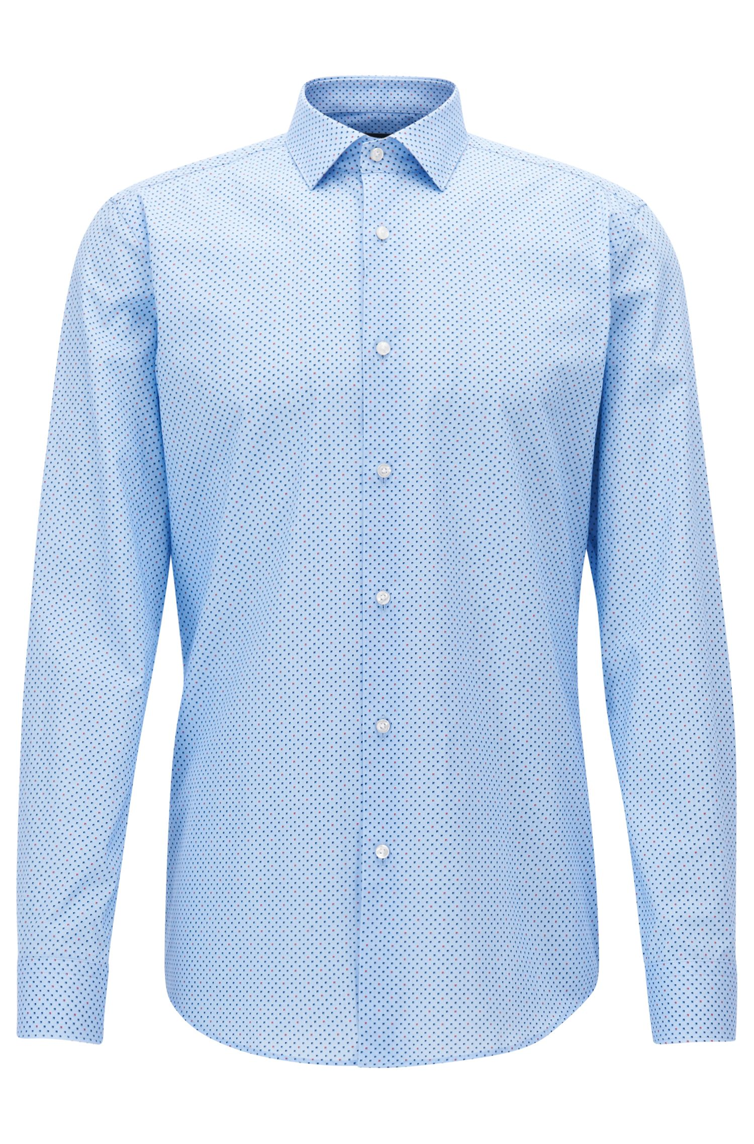 Pindot Cotton Dress Shirt, Slim Fit | Ismo , Blue