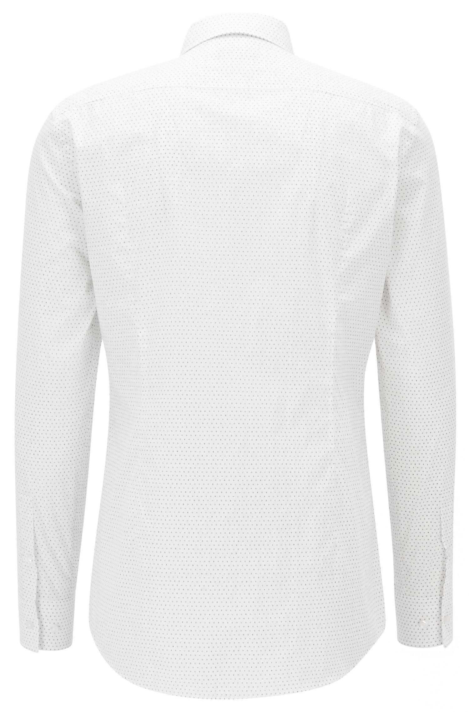 Dotted Cotton Dress Shirt, Slim Fit | Jenno, White