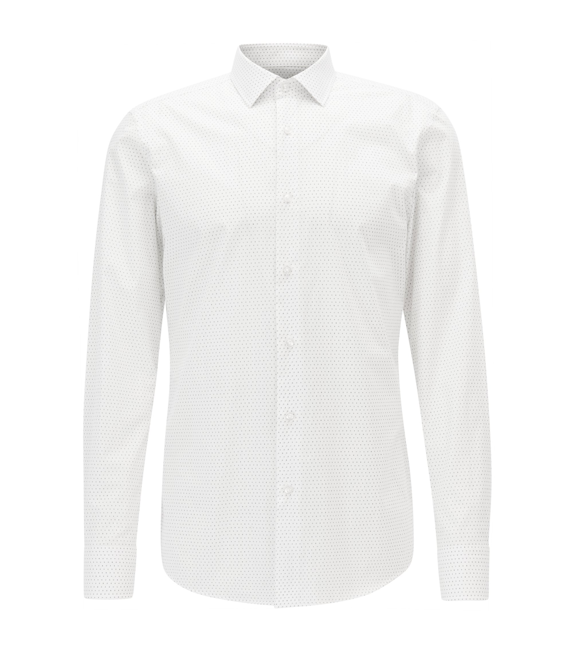 Dotted Cotton Dress Shirt, Slim Fit | Jenno, White