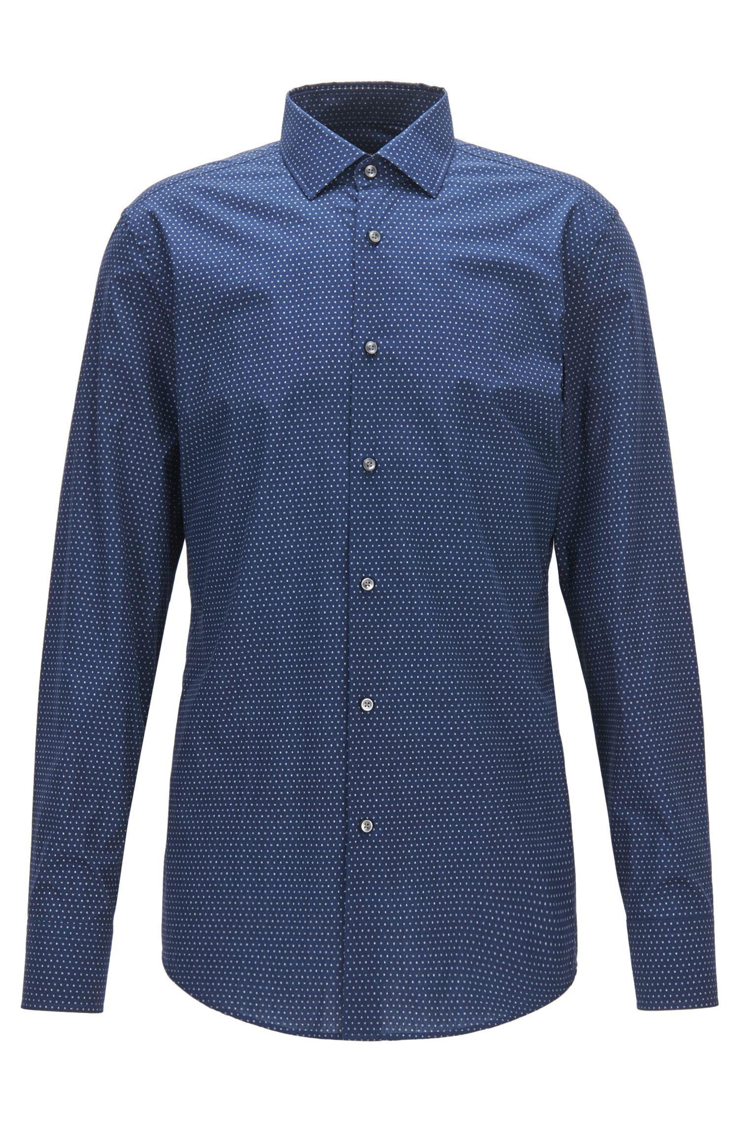 Dotted Cotton Dress Shirt, Slim Fit   Jenno