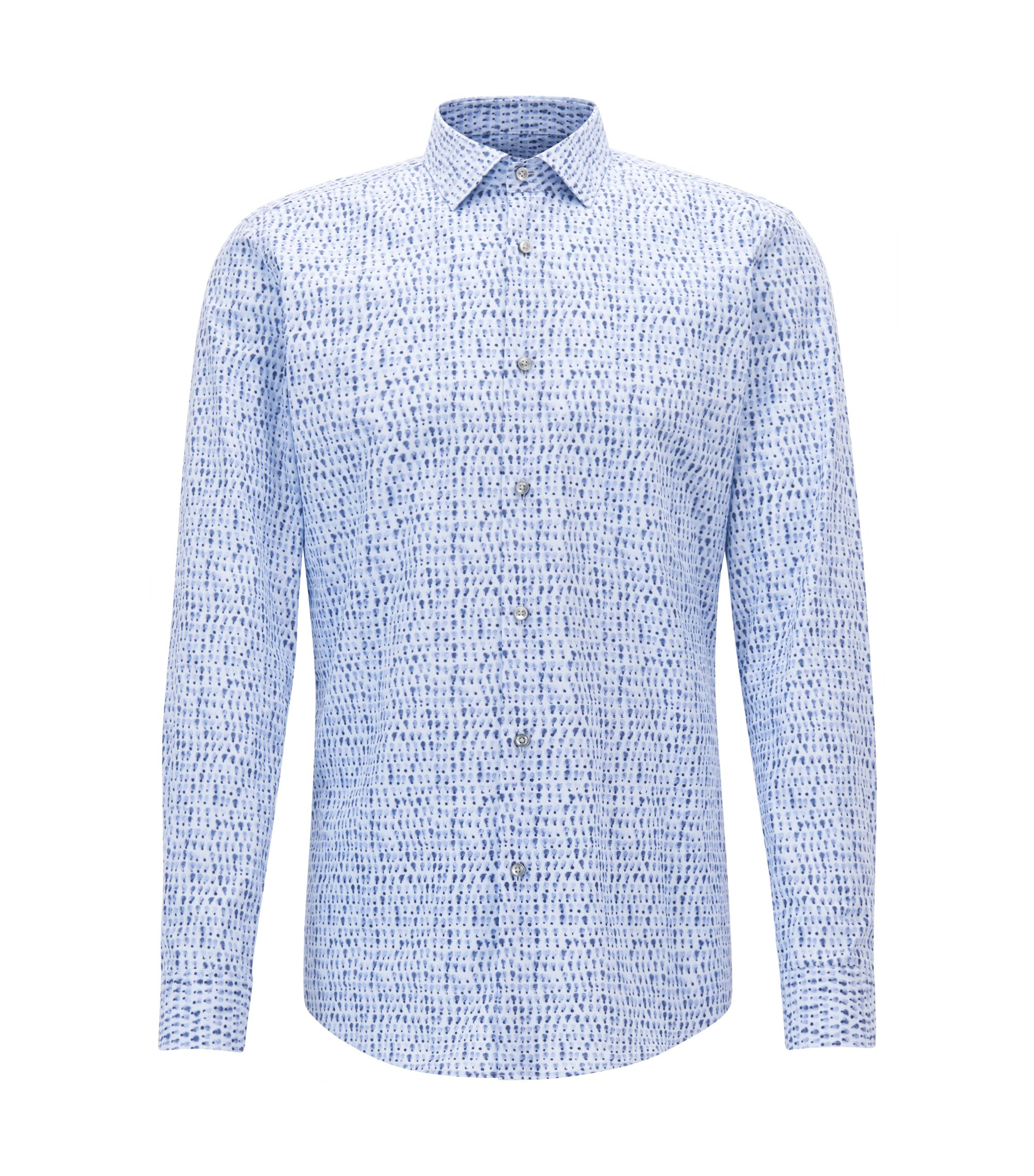 Patterned Cotton Dress Shirt, Slim Fit | Ismo, Light Blue