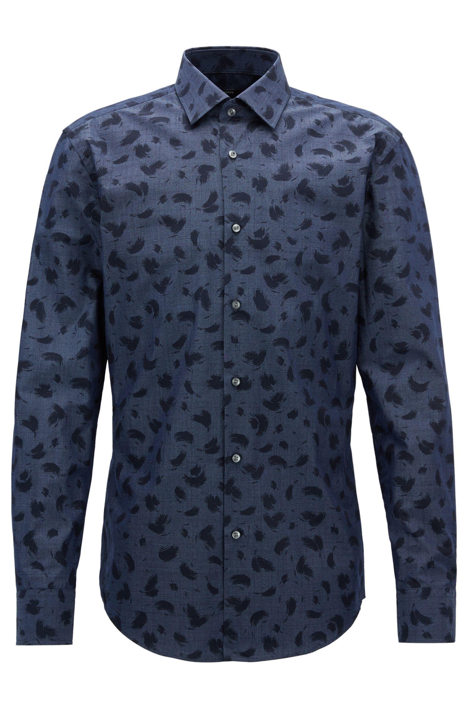 Brush-Print Cotton Dress Shirt, Slim Fit | Jenno, Dark Blue