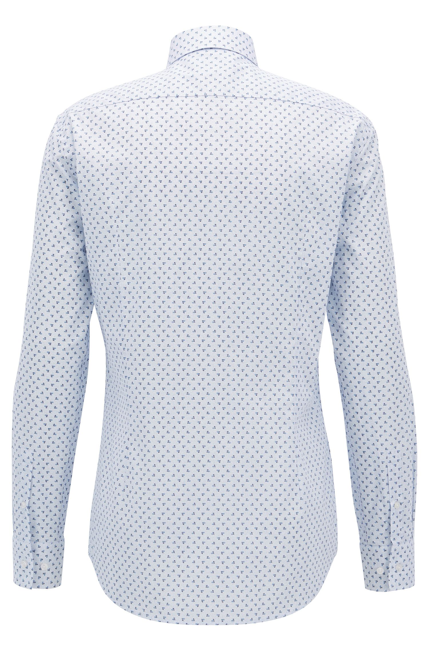 Floral-Print Cotton Dress Shirt, Slim Fit | Ismo, Light Blue